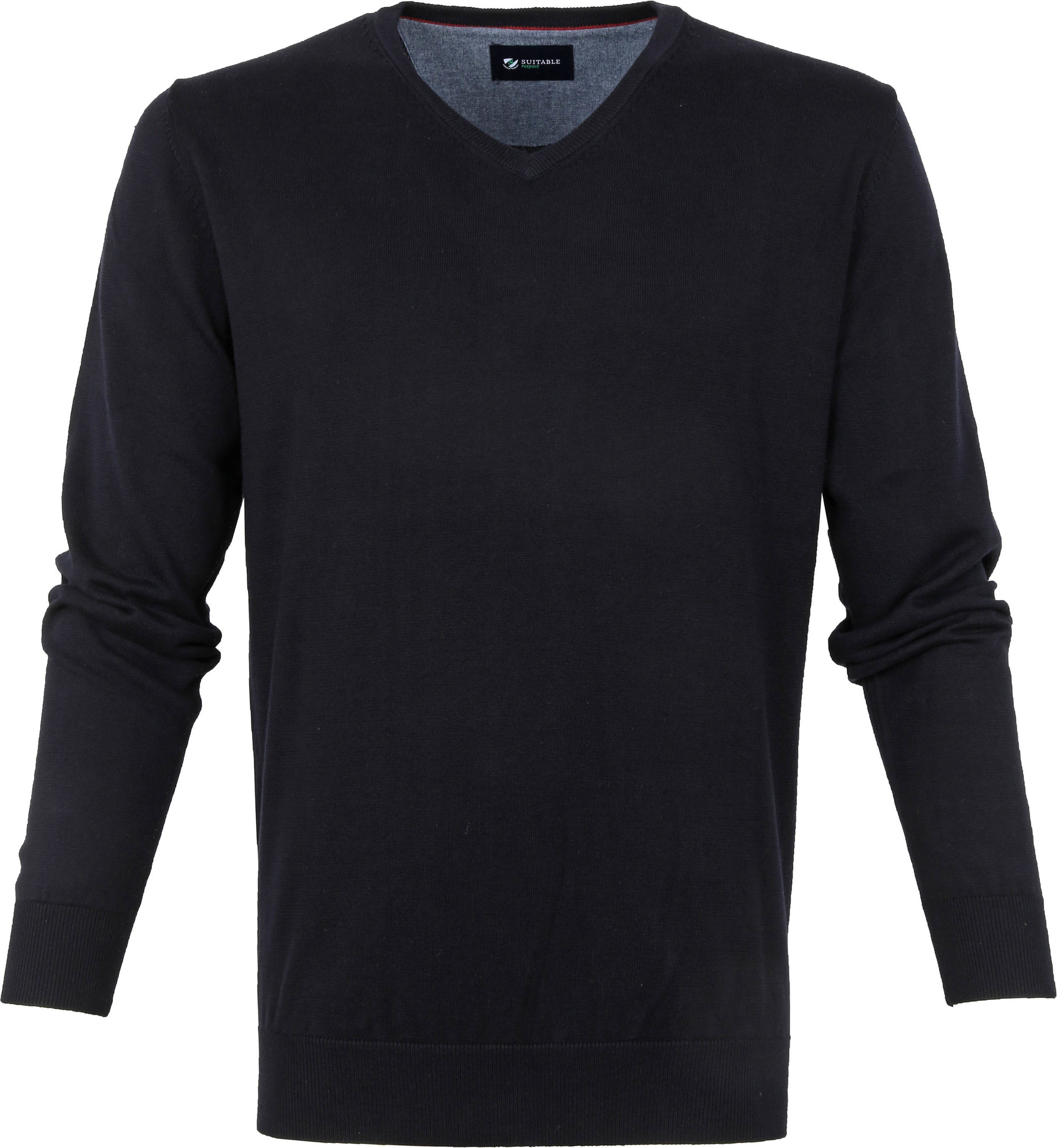 Suitable Cotton Vini Pullover V-Neck Dark Blue