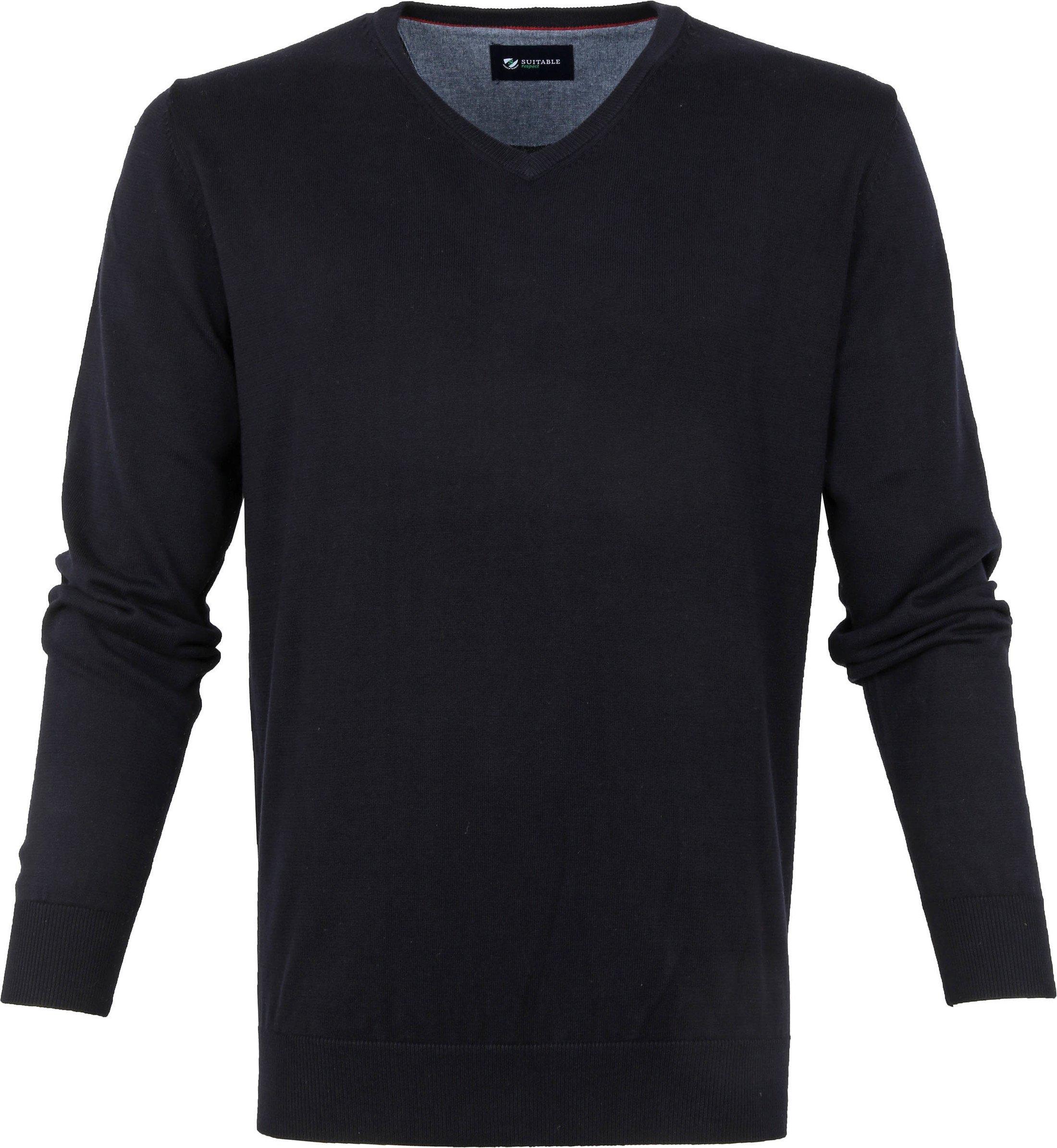 Suitable Cotton Vini Pullover V-Neck Dark Blue