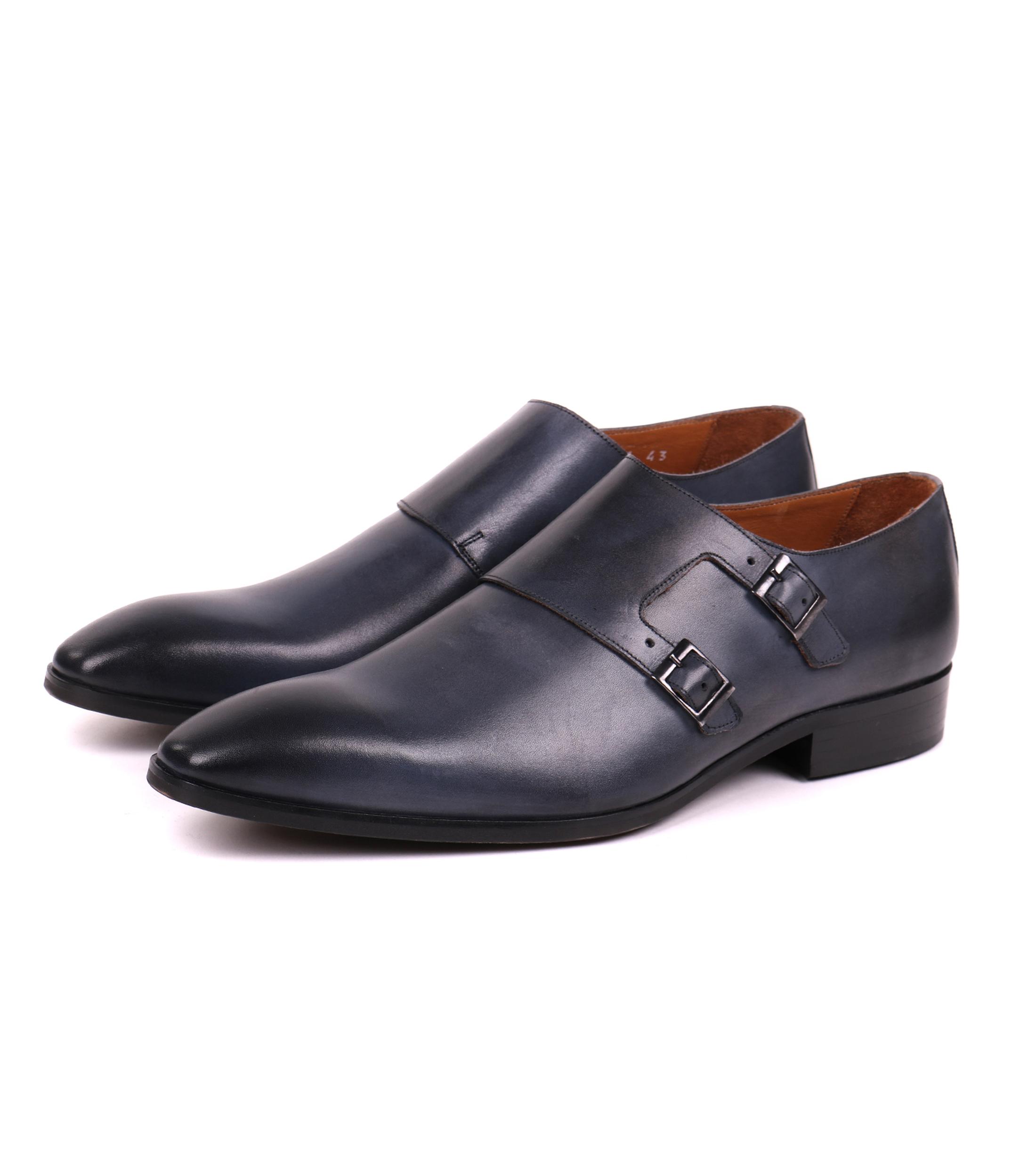 Appropriés Chaussures Hommes De Luxe Noir Escalier Double Moine lR2yV