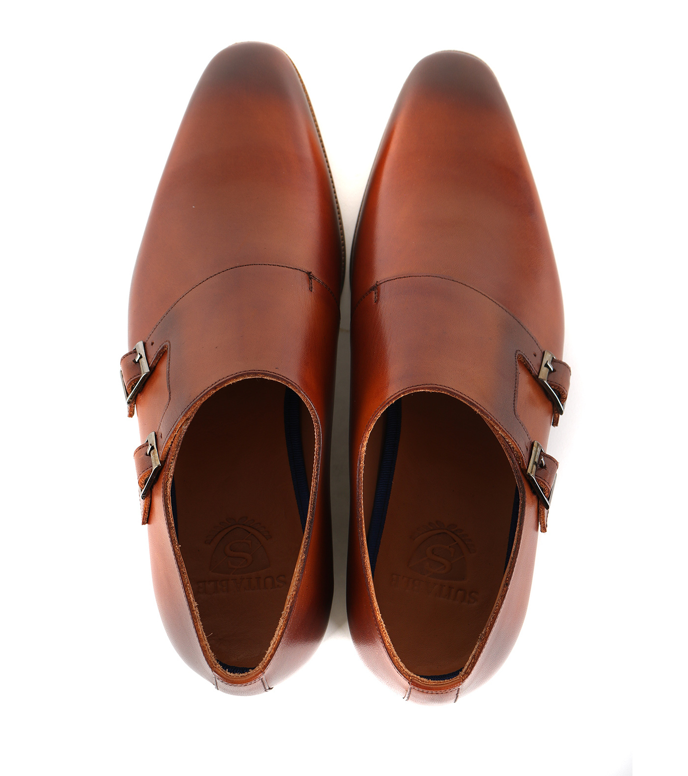Suitable Double Monk Strap Schoen Cognac foto 2