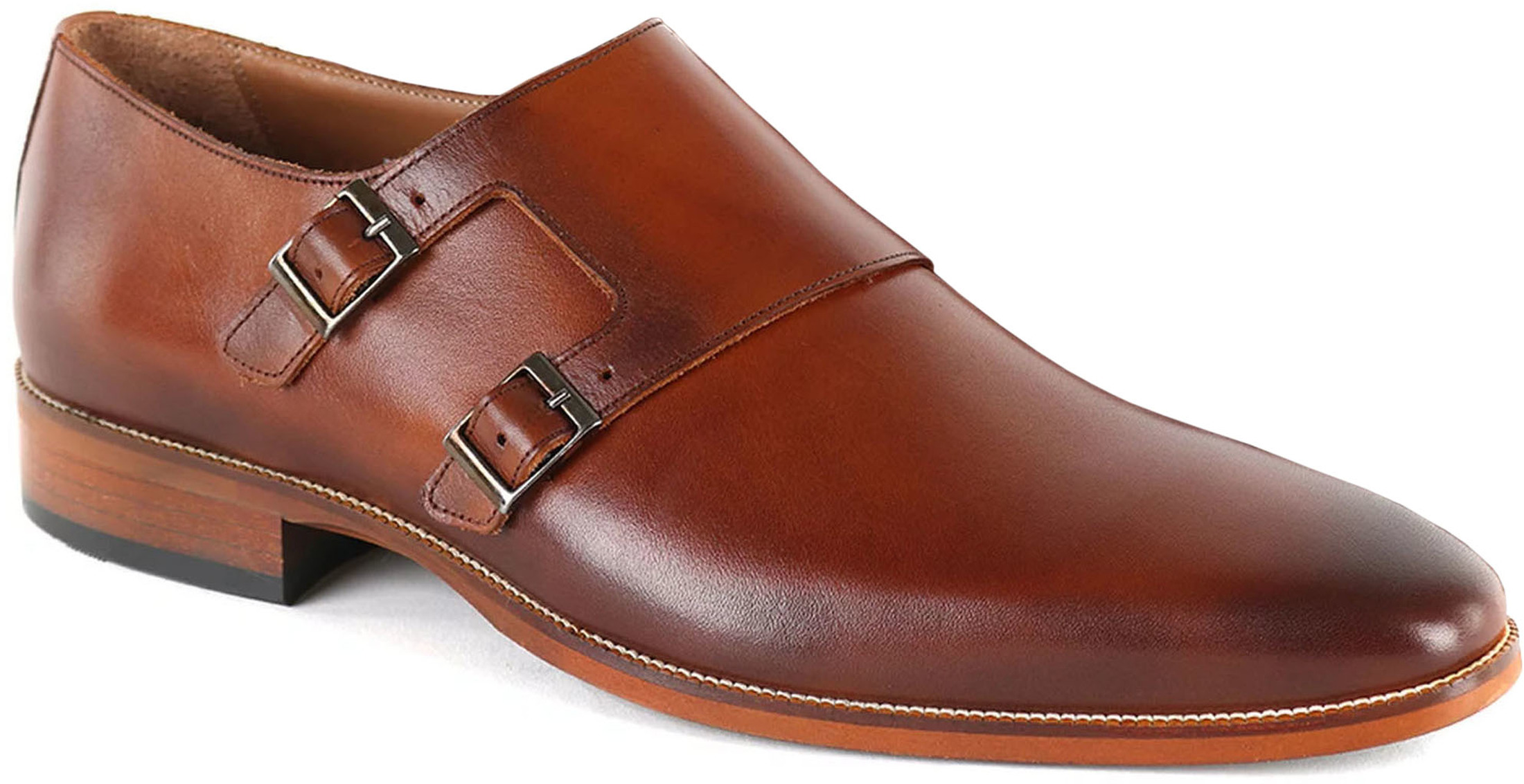 Suitable Double Monk Strap Schoen Cognac foto 0