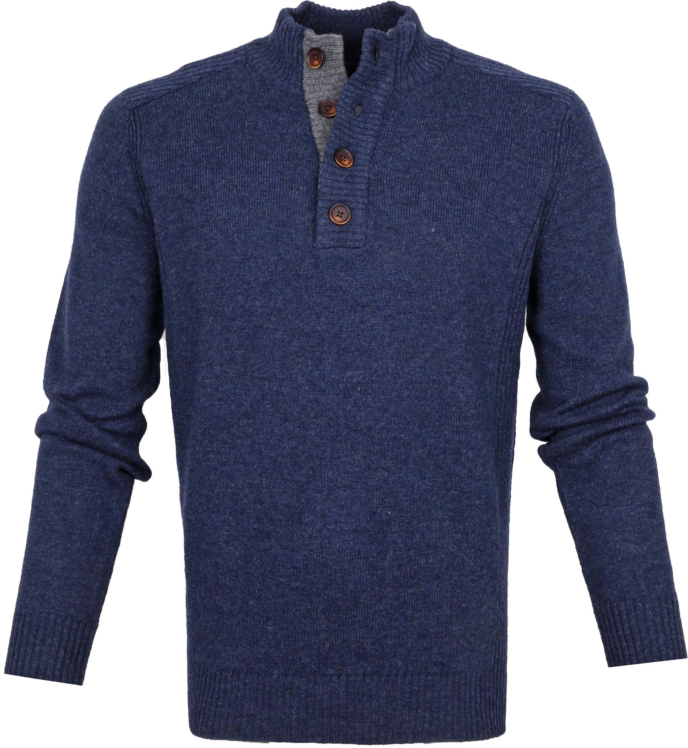 Suitable Fijn Lamswol 9 garen Mocker Pullover Donkerblauw