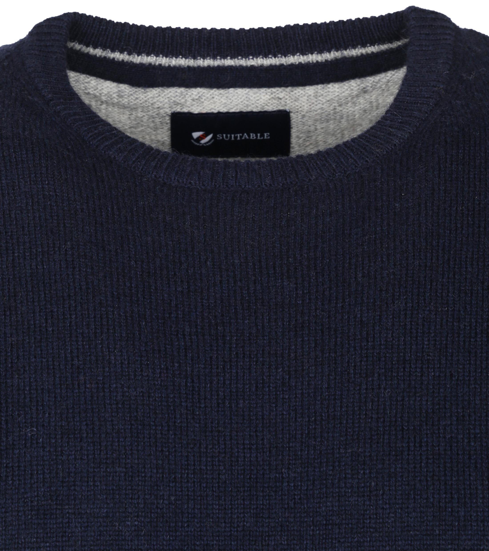 Suitable Fijn Lamswol 9 garen Pullover O-Hals Donkerblauw