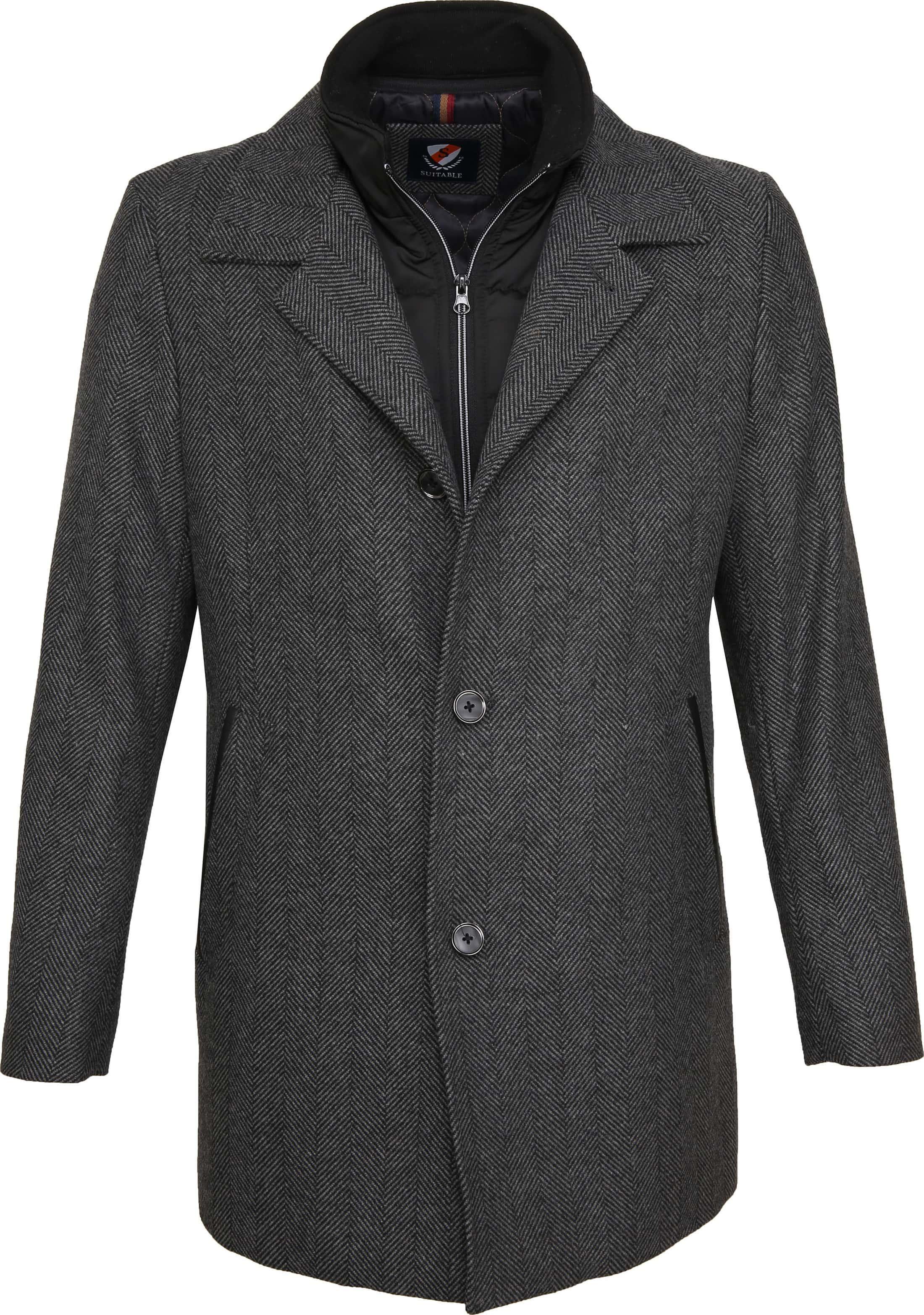 Suitable Geke Coat Herringbone Antraciet foto 0