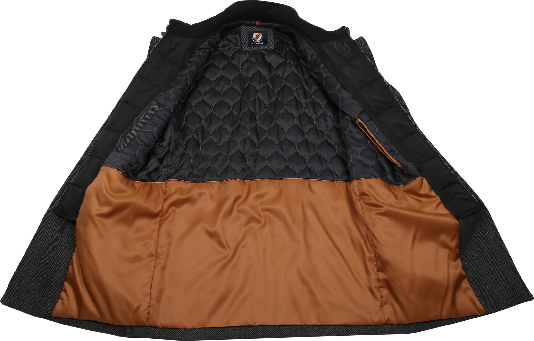 Suitable Geke Coat Herringbone Antraciet foto 7