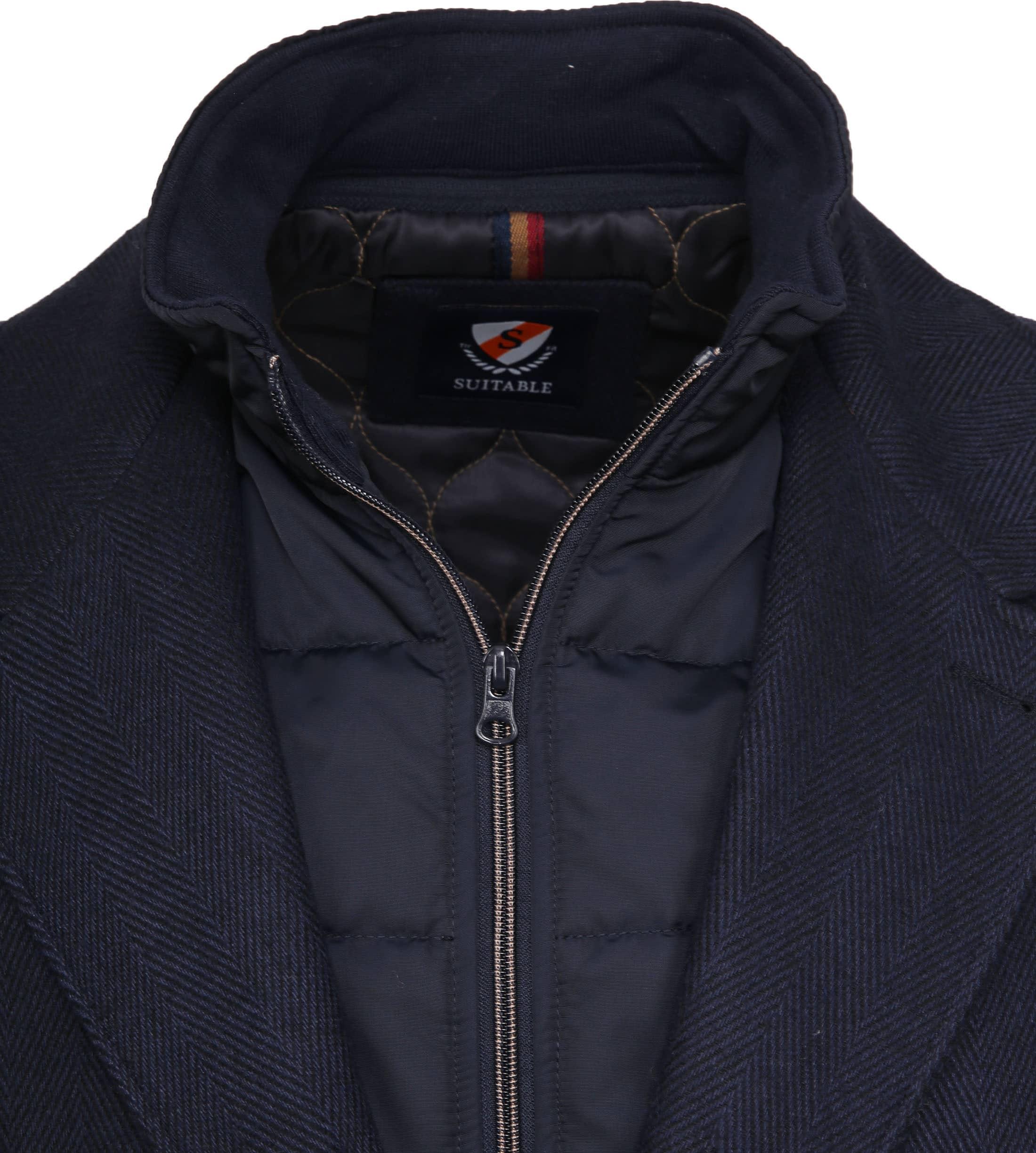 Suitable Geke Coat Herringbone Navy foto 1