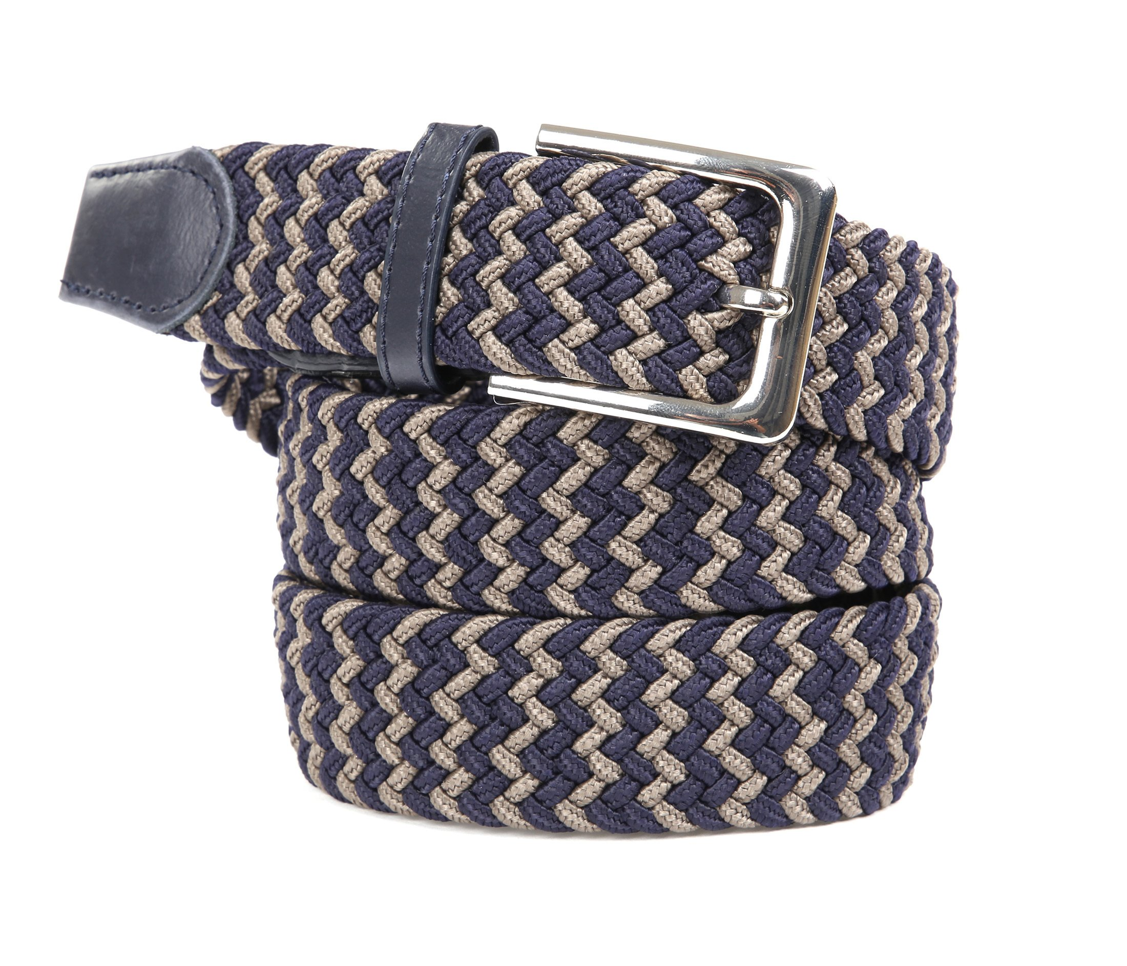 Suitable Geweven Riem Navy Taupe foto 0