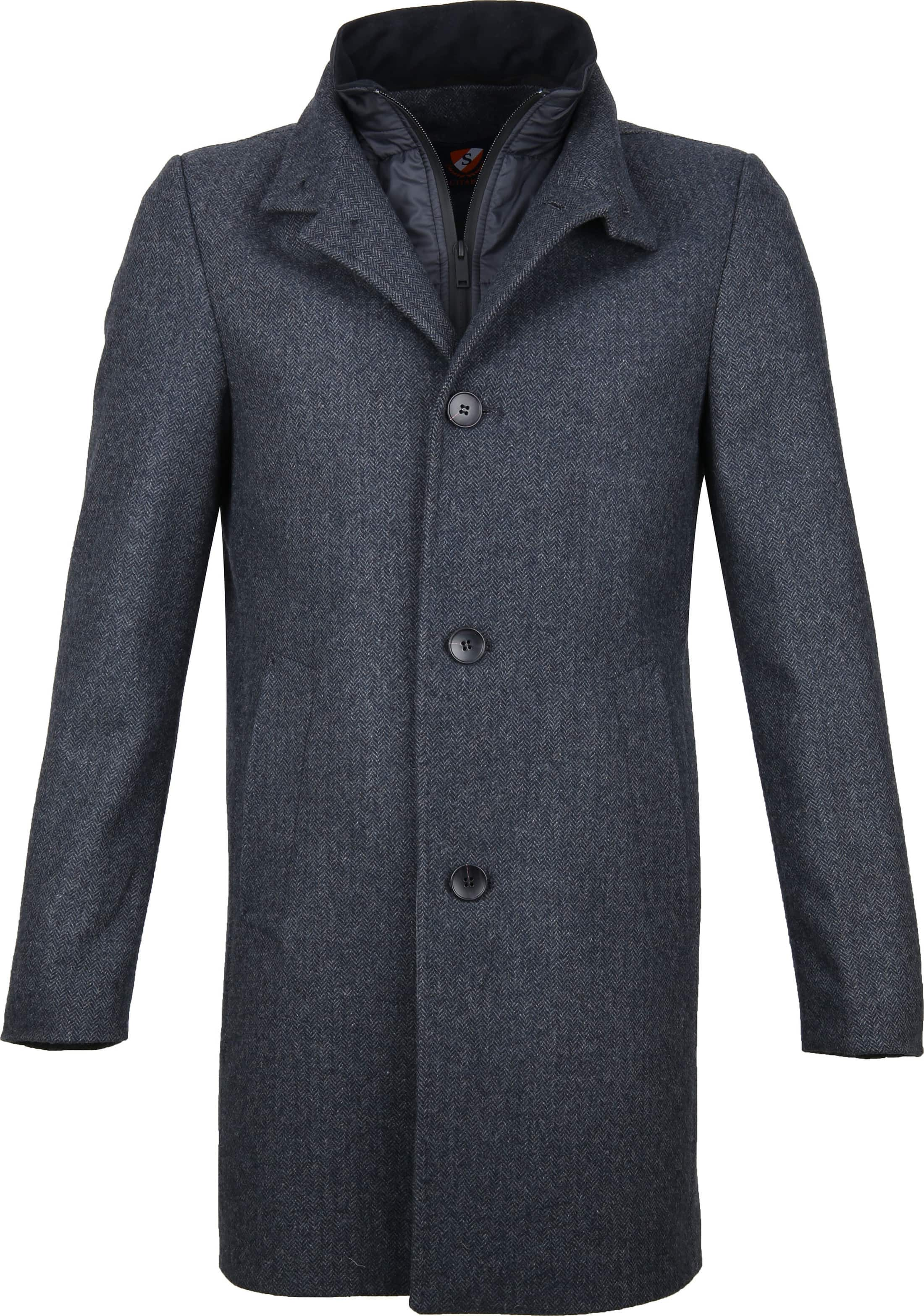 Suitable Hamburg Coat Herringbone Navy foto 0