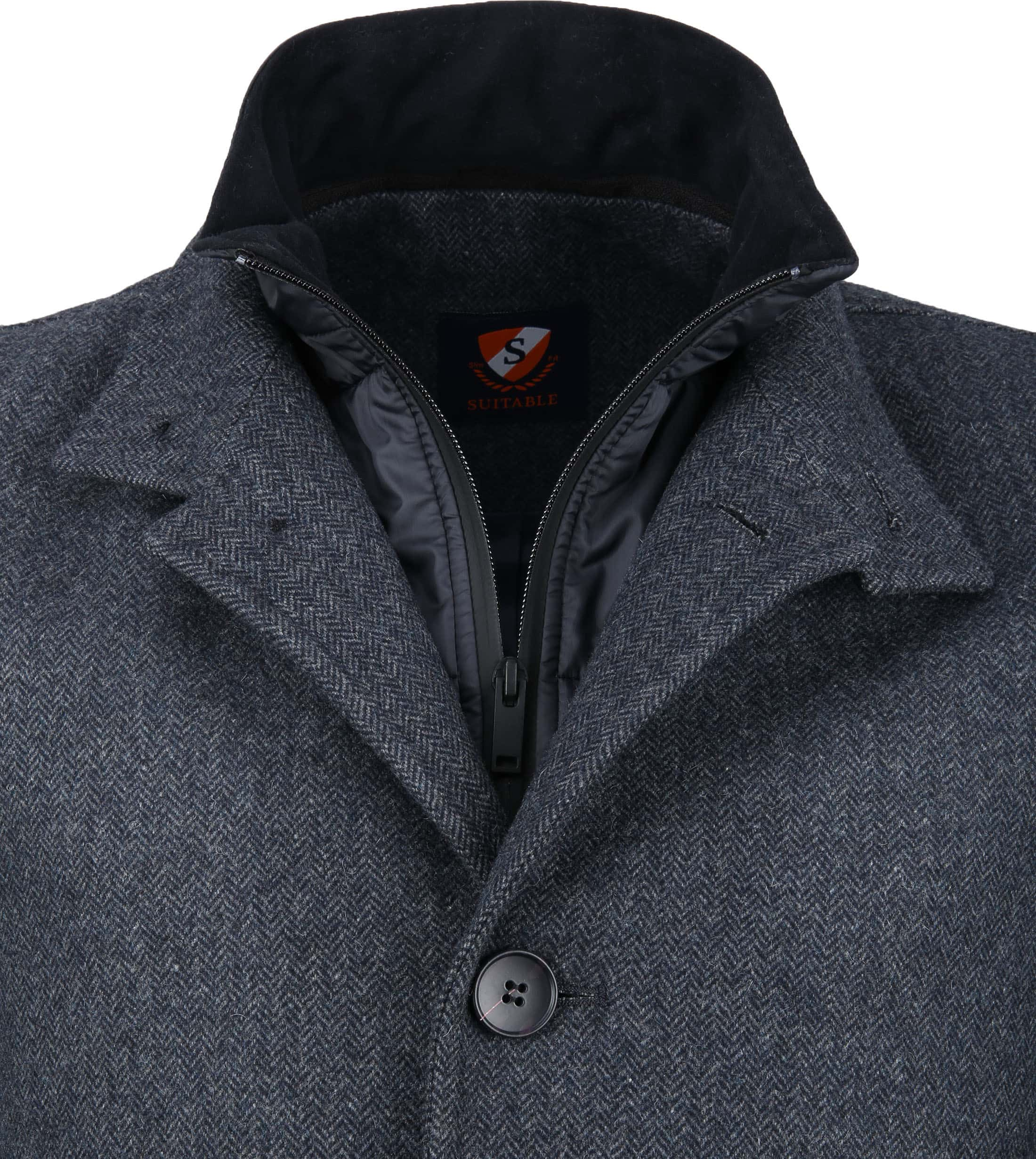 Suitable Hamburg Coat Herringbone Navy foto 1