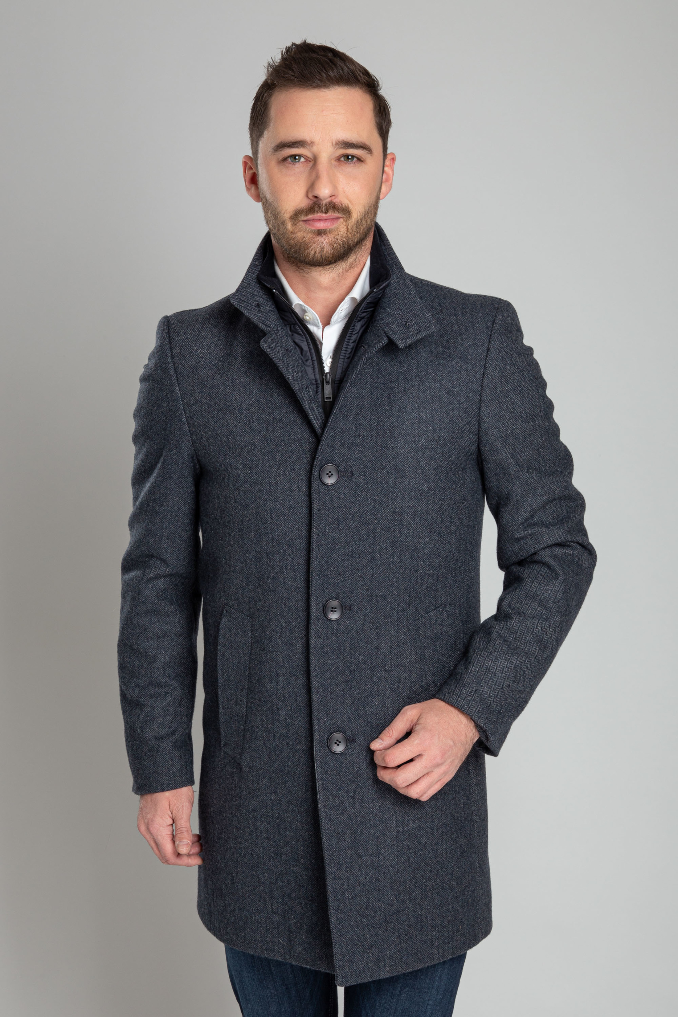 Suitable Hamburg Coat Herringbone Navy foto 7