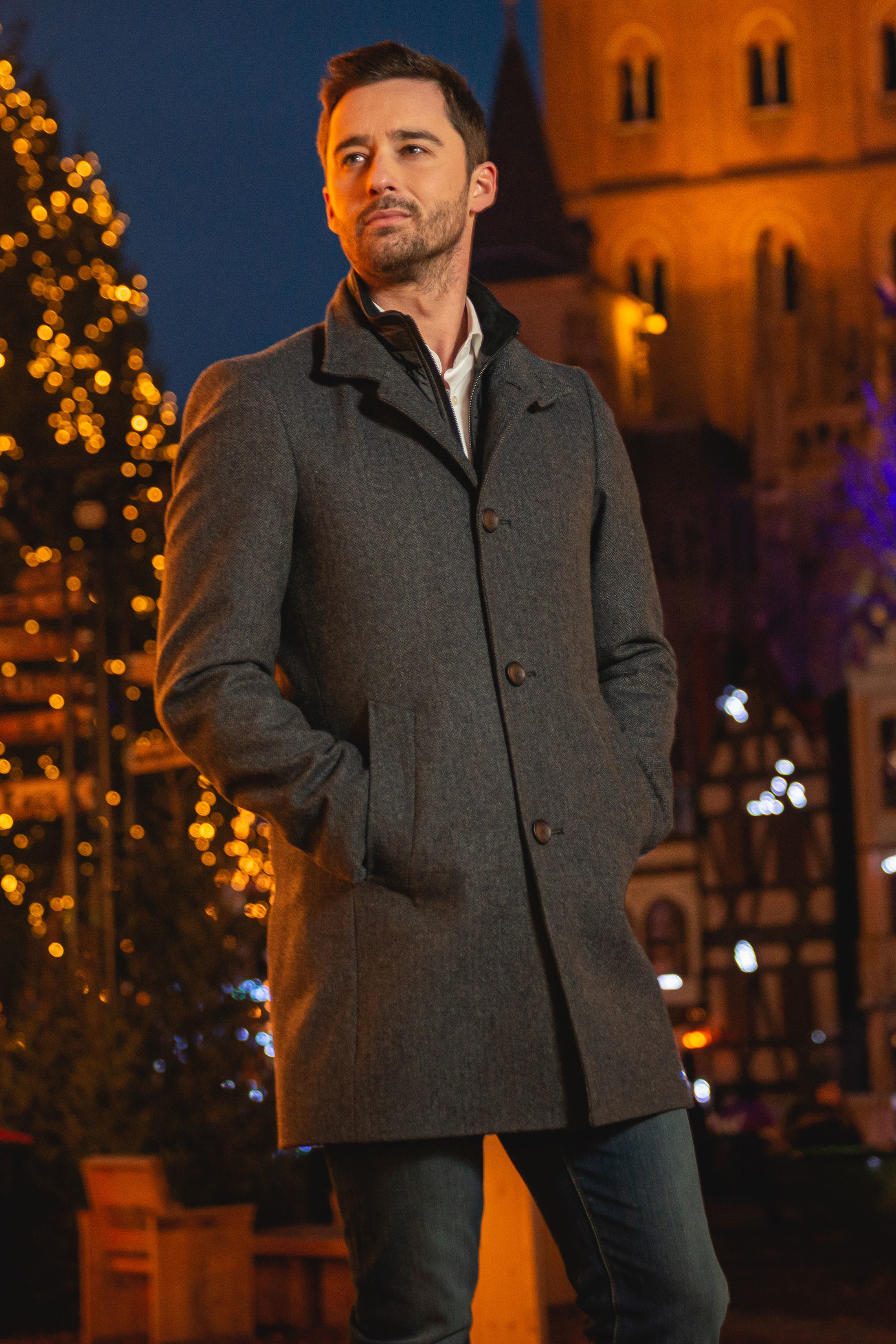 Suitable Hamburg Coat Herringbone Navy foto 8