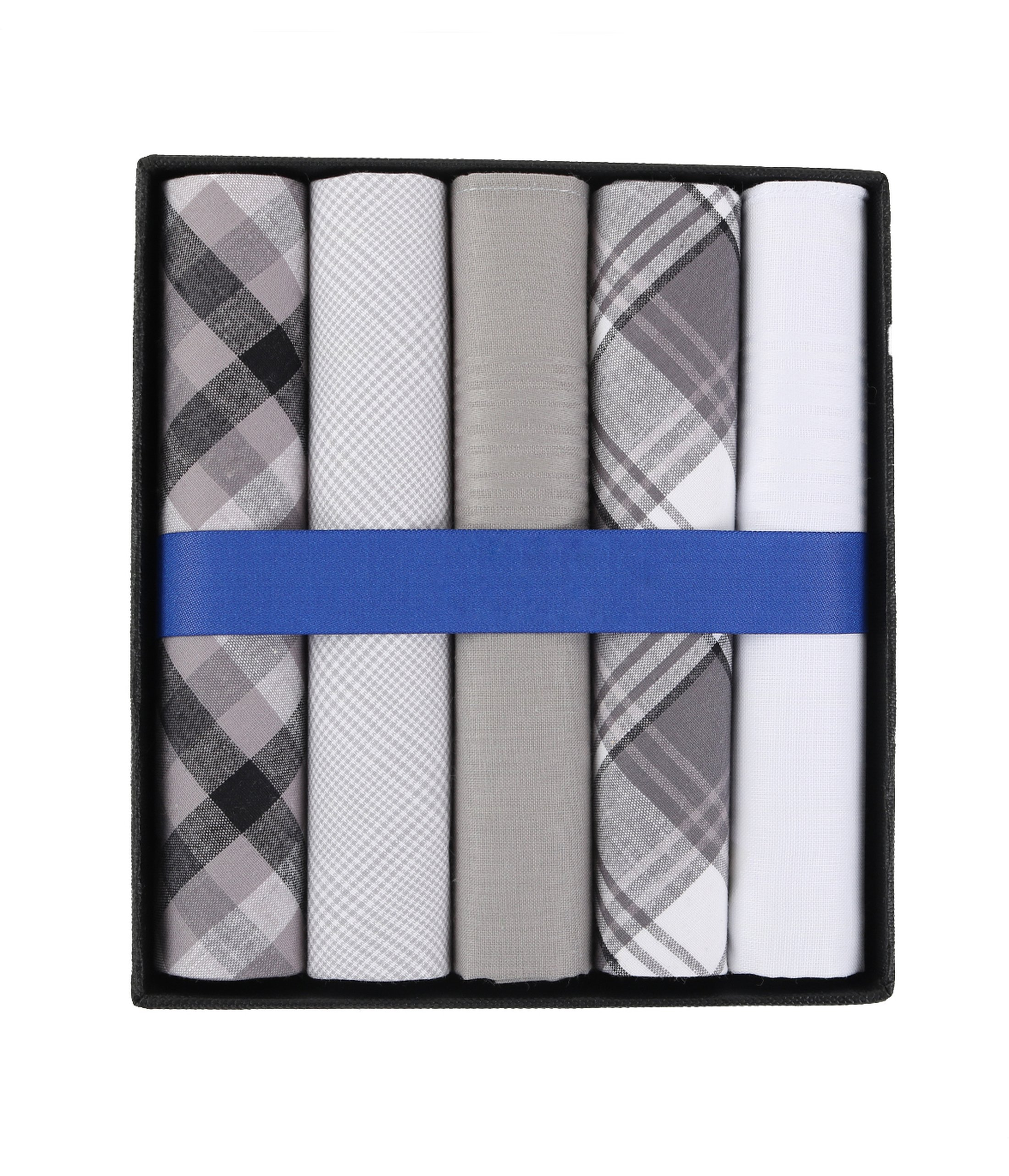 Suitable Handkerchiefs White Grey Checkered foto 0