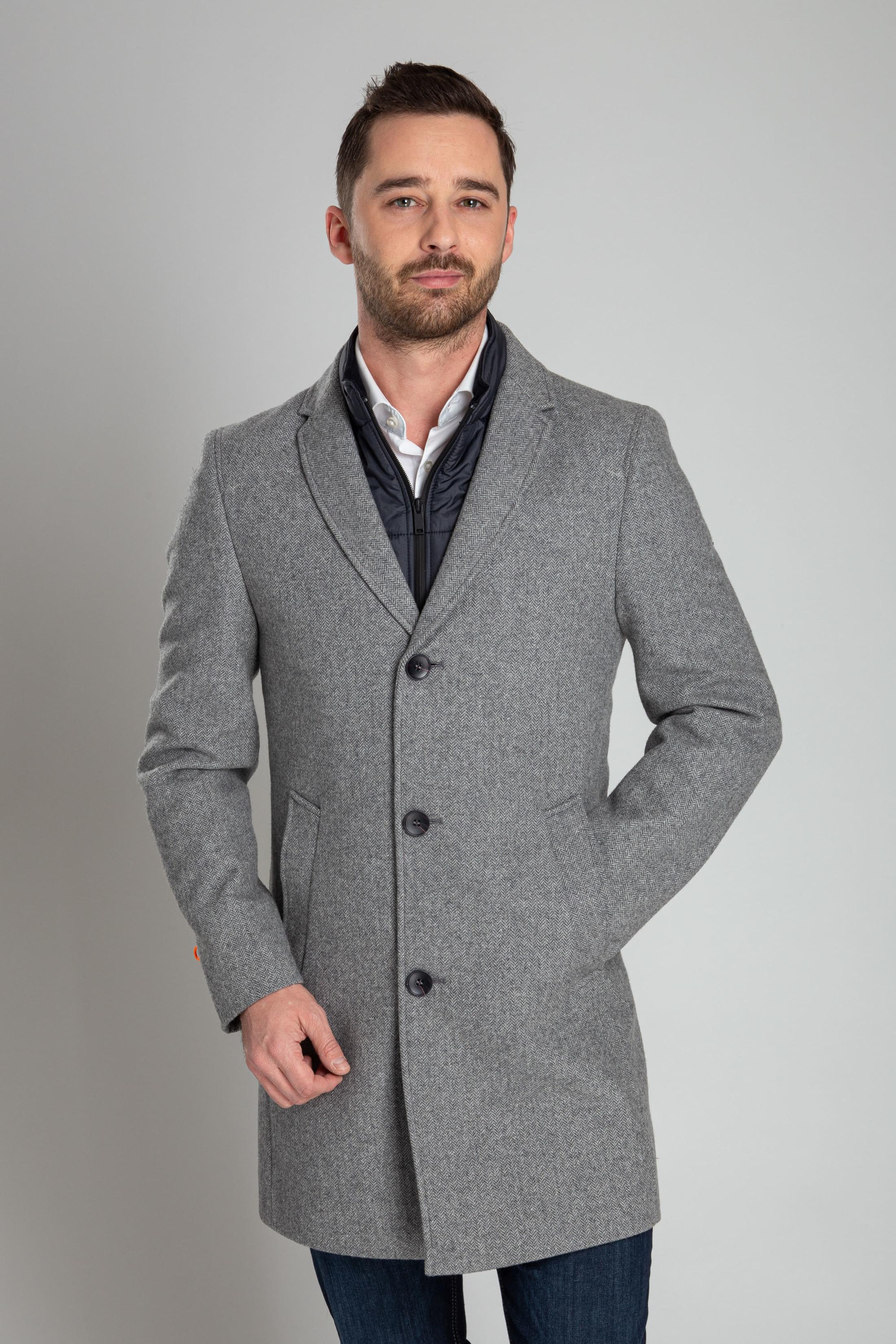 Suitable Hans Coat Herringbone Grijs foto 6