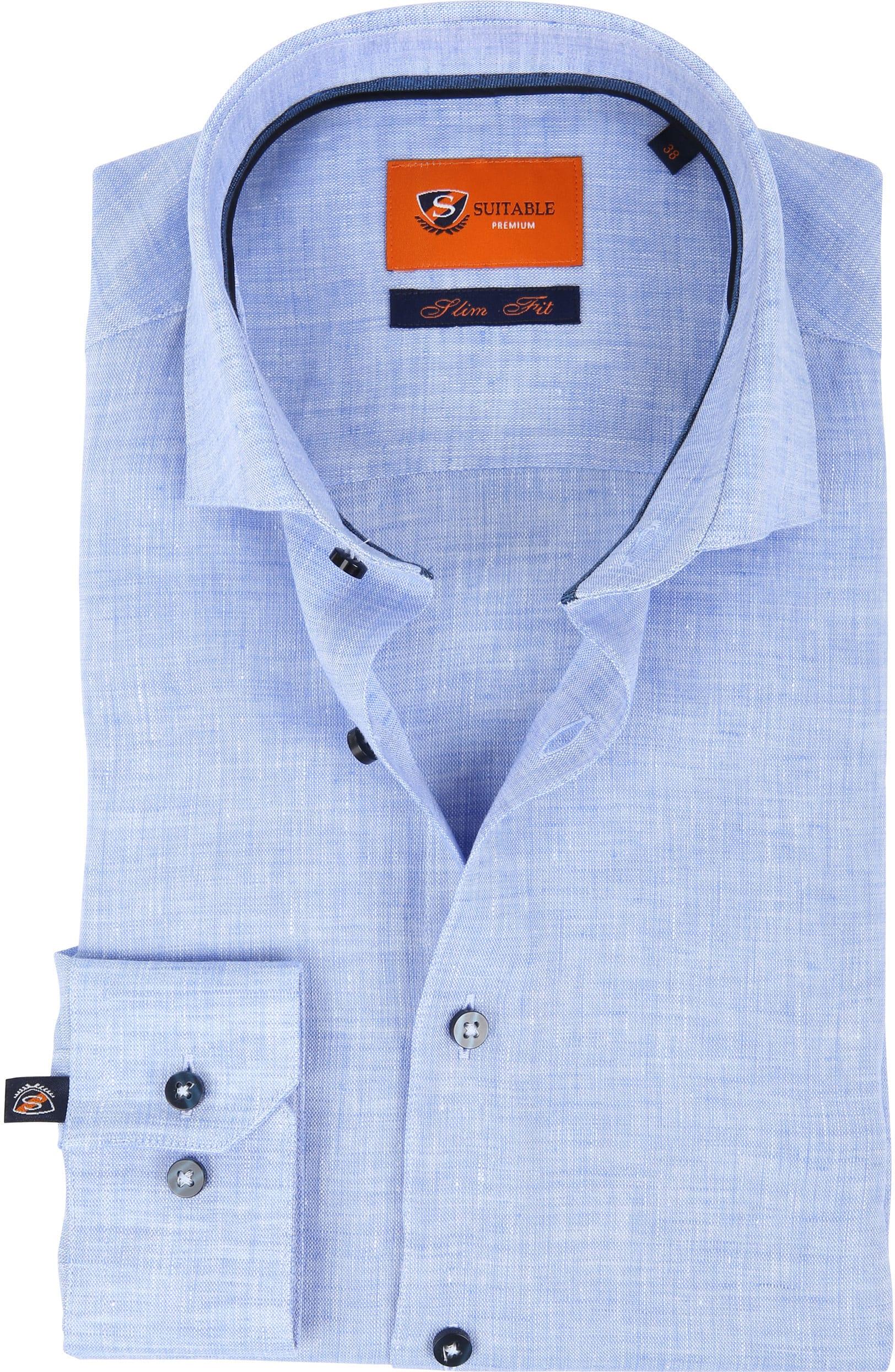 Suitable Hemd Leinen Blau D81-12