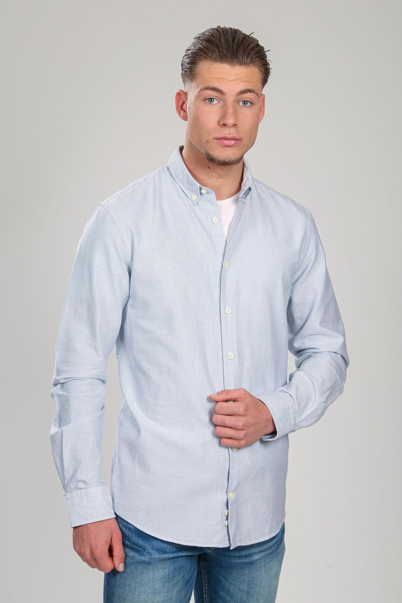 Suitable Hemd Max Strepen Donkerblauw