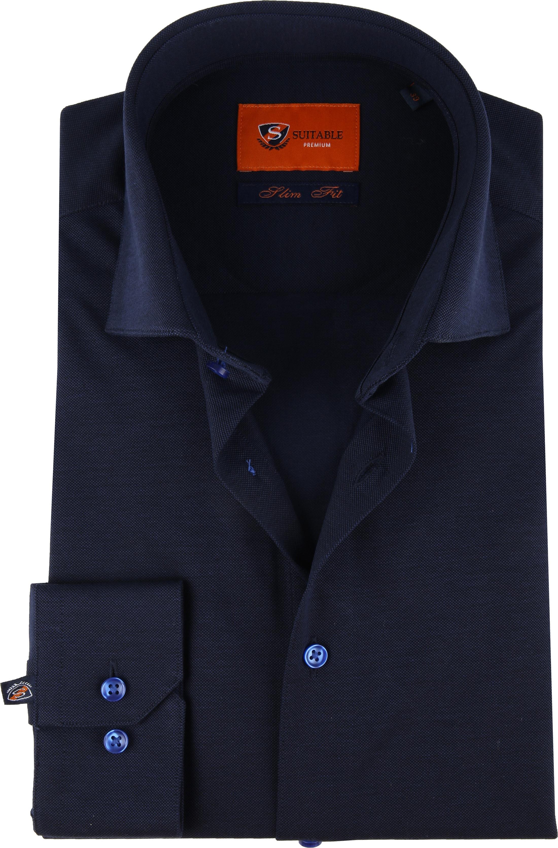 Suitable Jersey Pique Shirt Navy foto 0