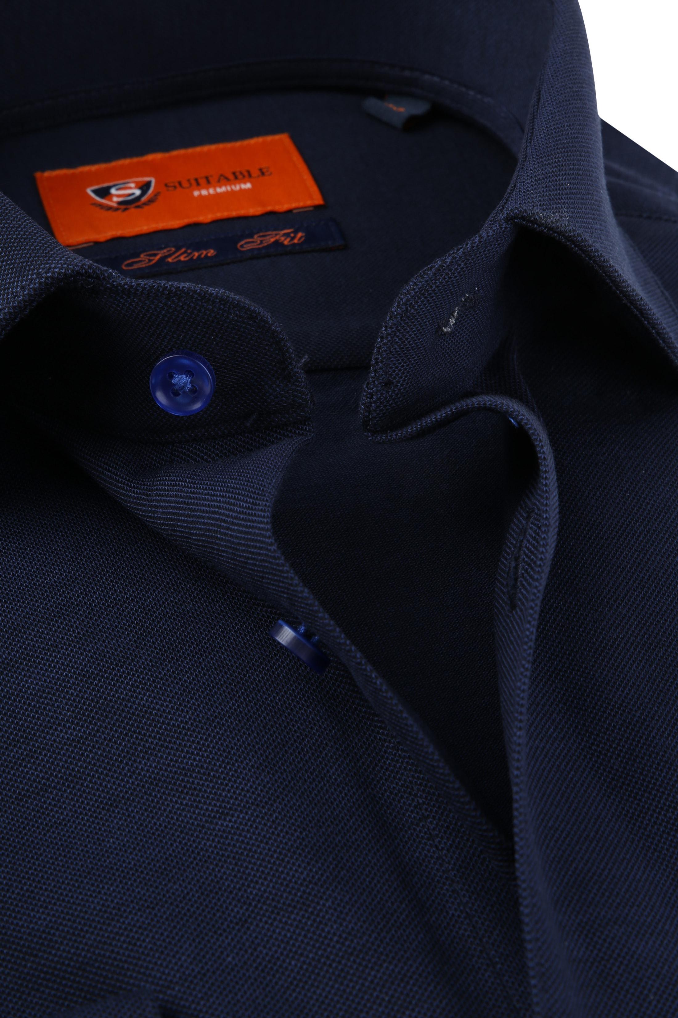 Suitable Jersey Pique Shirt Navy foto 1