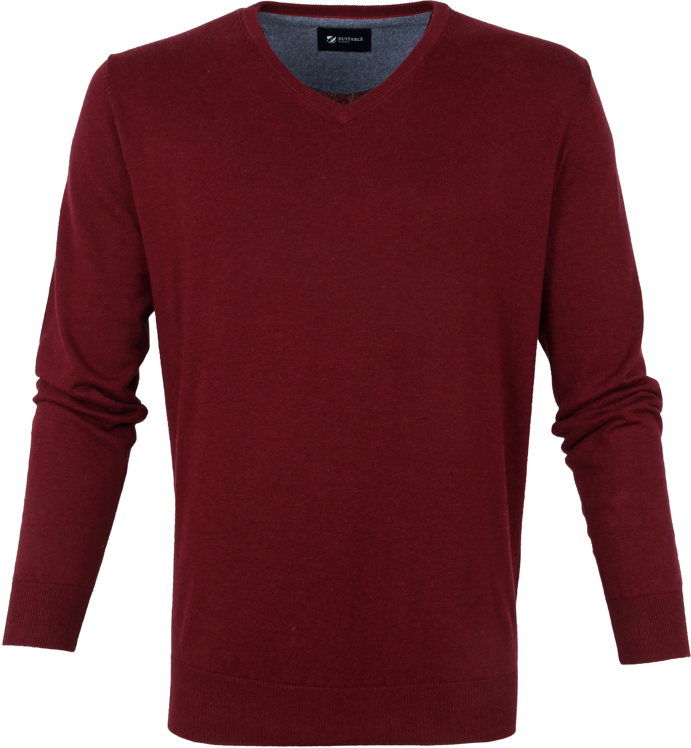 Suitable Katoen Vini Pullover V-Hals Bordeaux