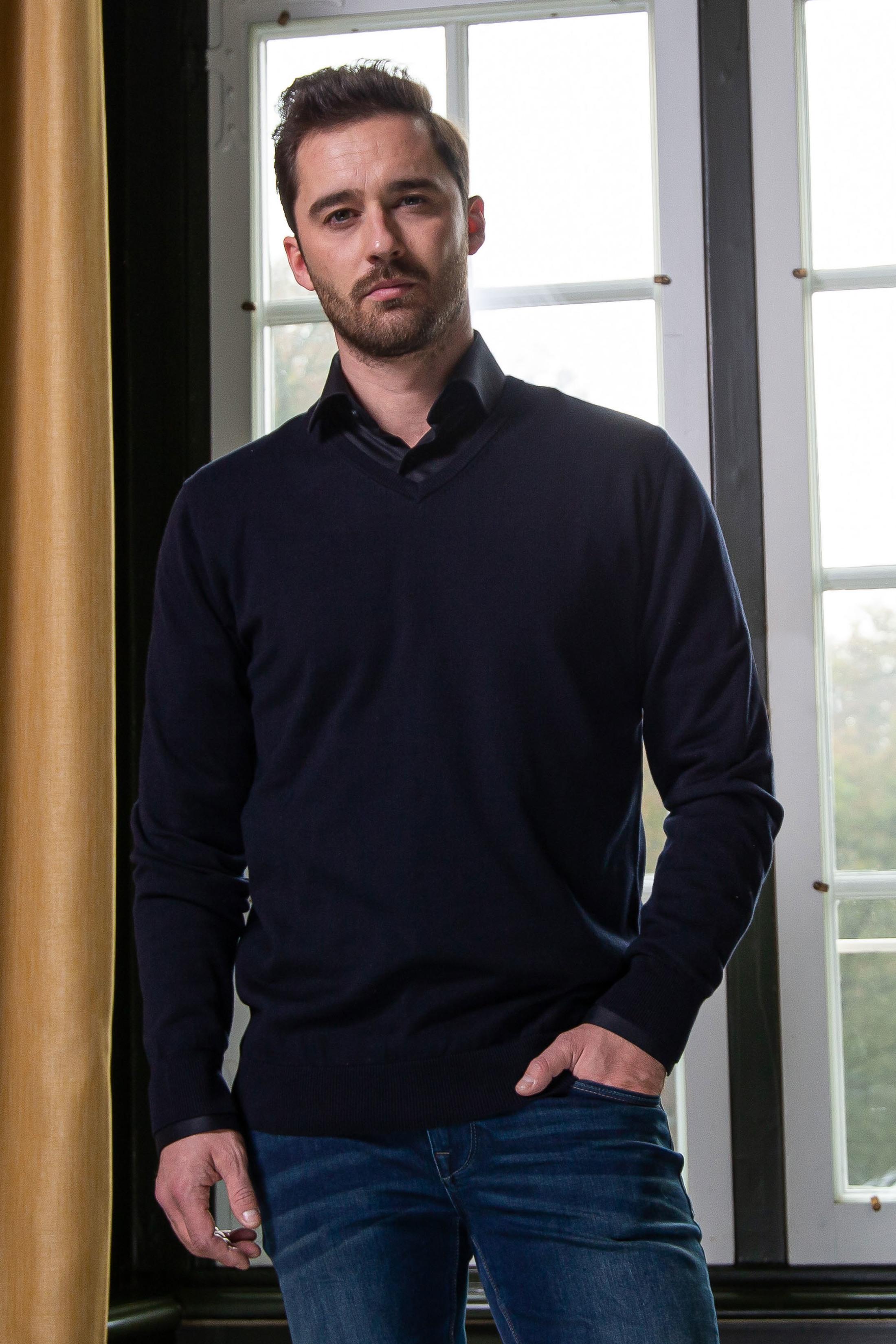 Suitable Katoen Vini Pullover V-Hals Donkerblauw