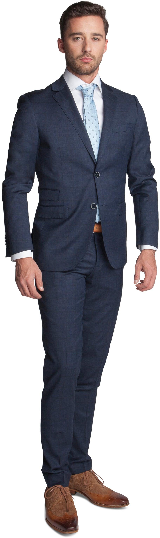 Suitable Kostuum Turino Donkerblauw Ruit foto 0
