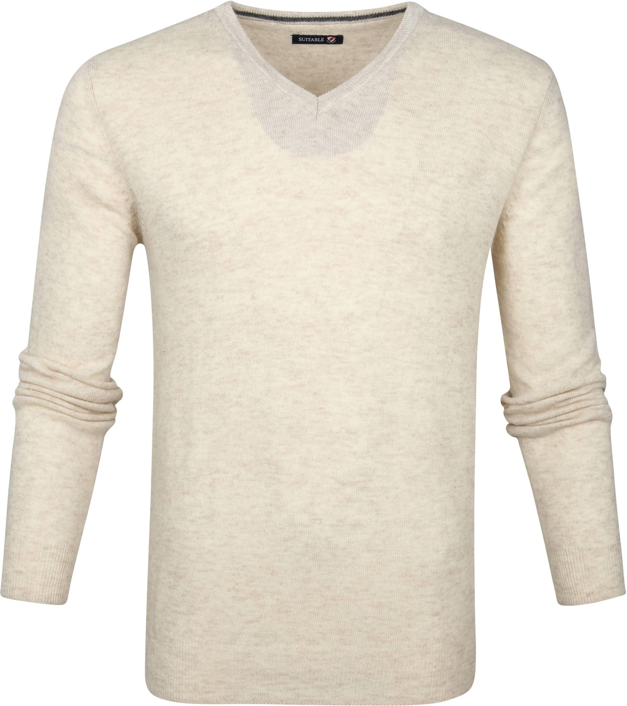 Suitable Lamswol Pullover V-Hals Beige