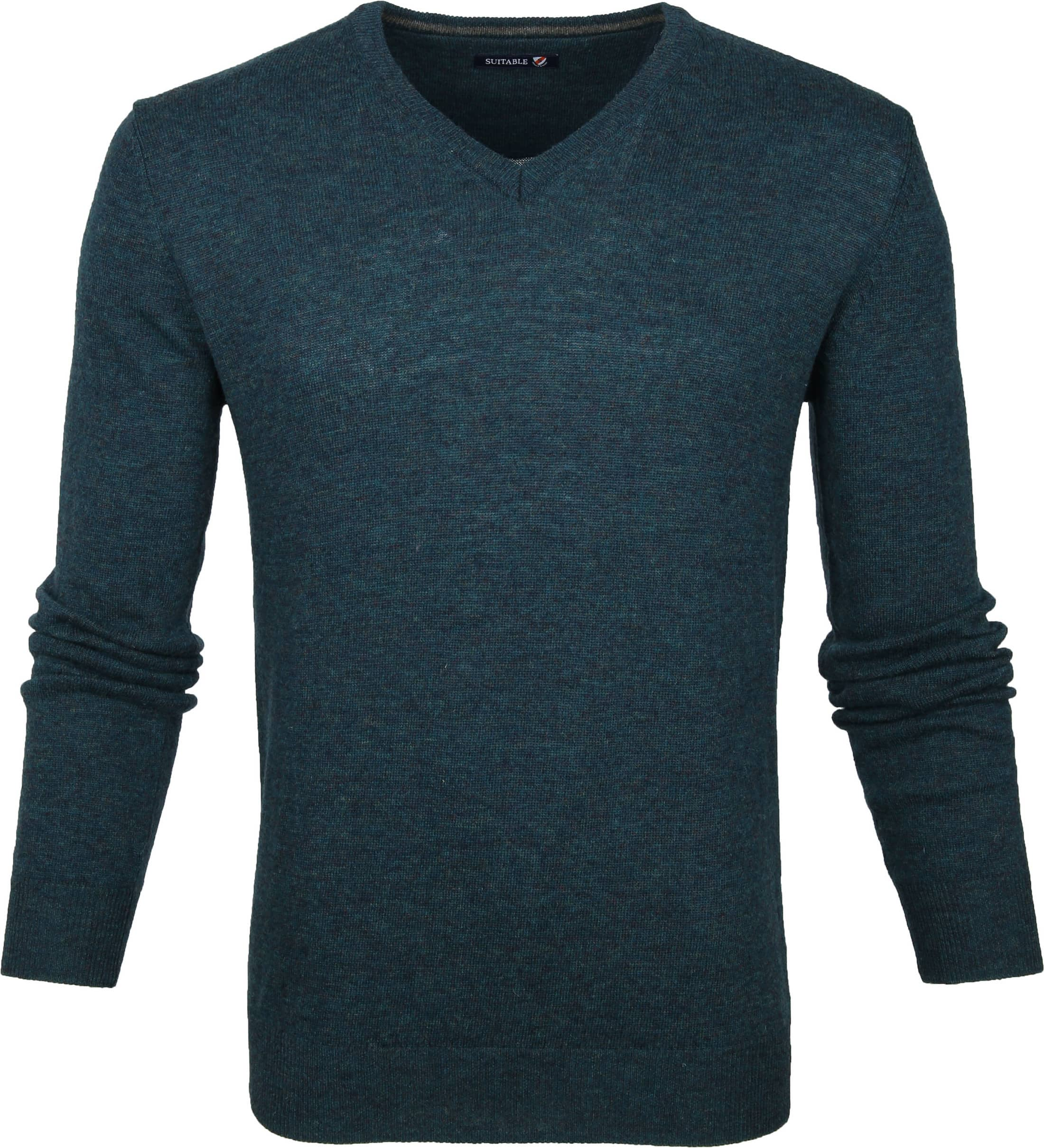 Suitable Lamswol Pullover V-Hals Groen