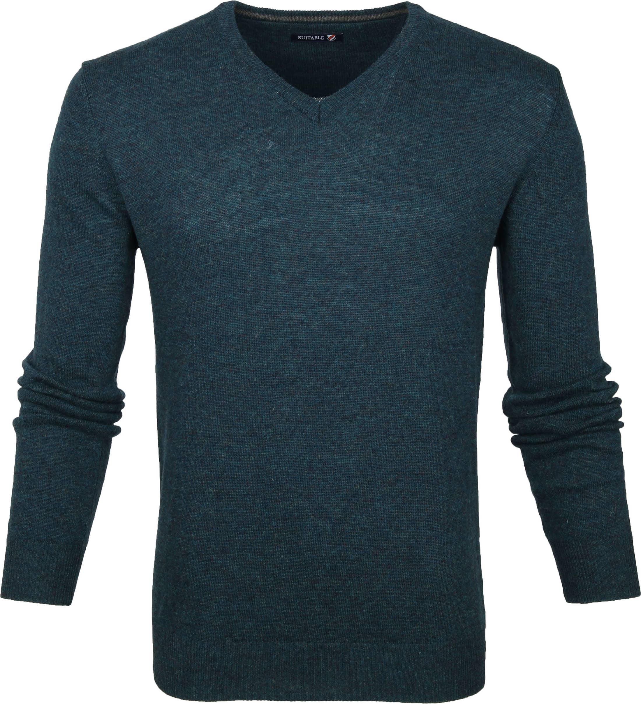 Suitable Lamswol Pullover V-Hals Groen