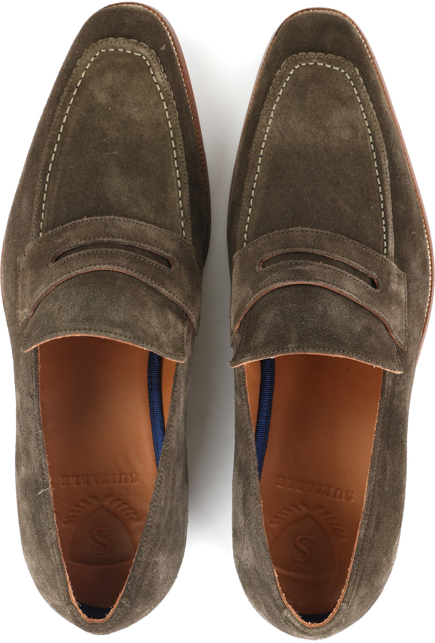 Suitable Loafer Suede Groen foto 2