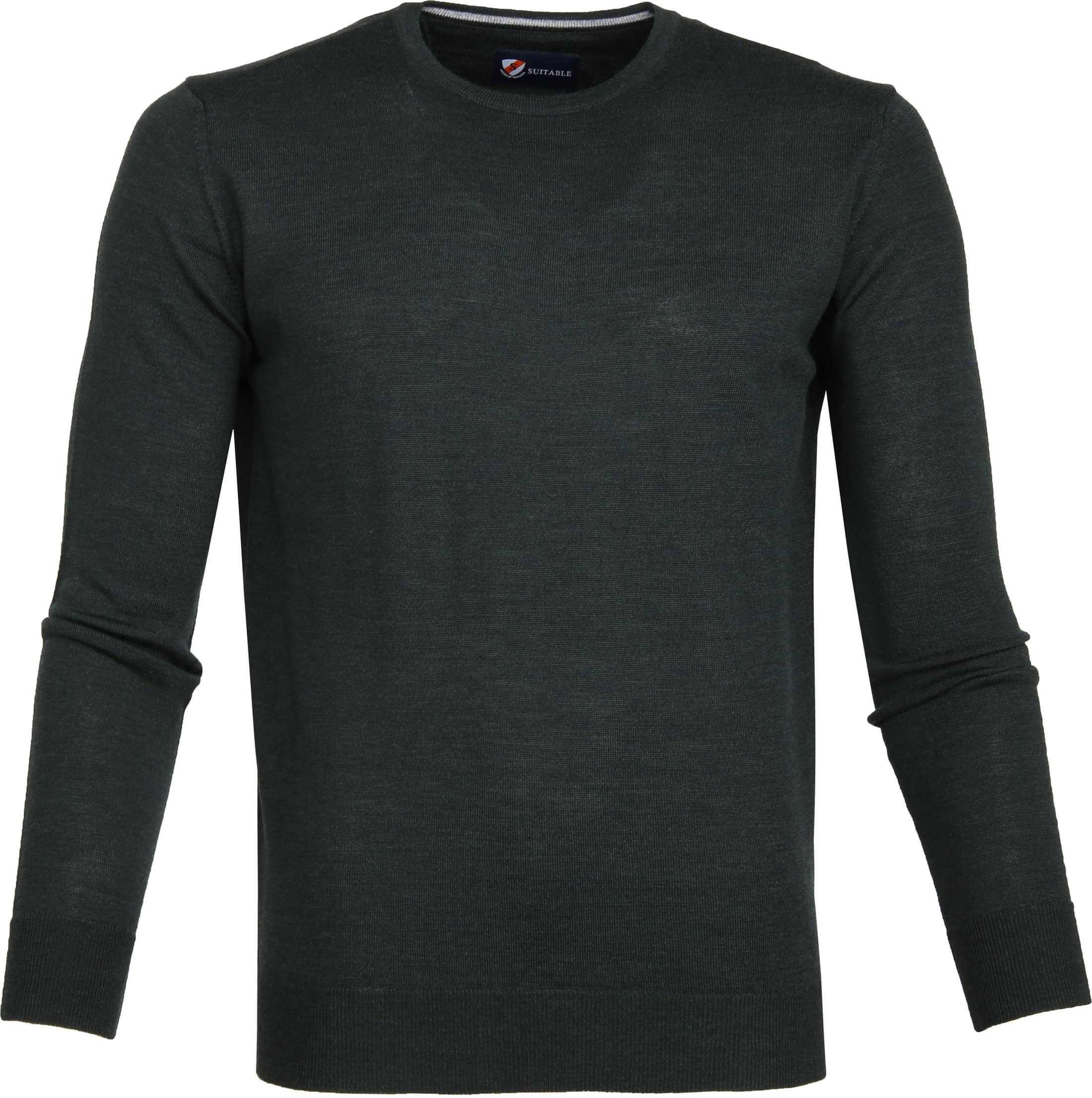 Suitable Merino Pullover R-Neck Dark Green foto 0