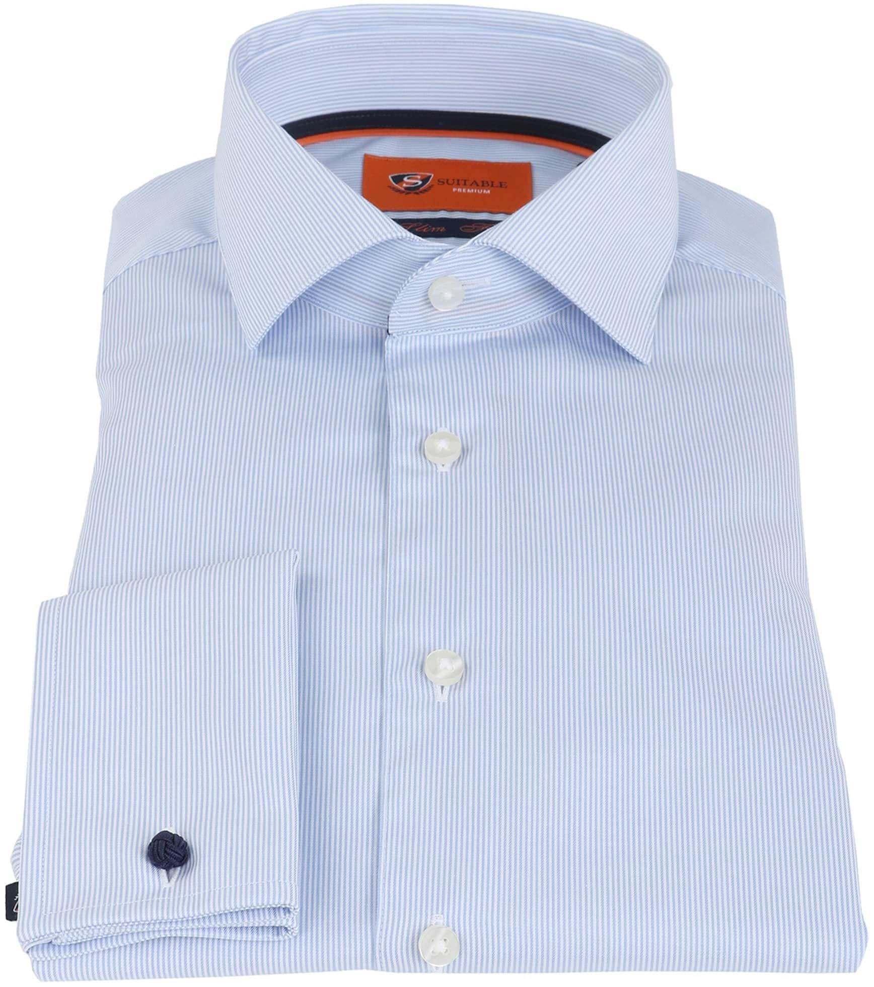 Suitable Overhemd Blauw Gestreept foto 1