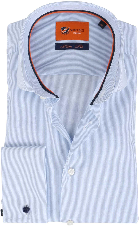 Suitable Overhemd Blauw Gestreept foto 0