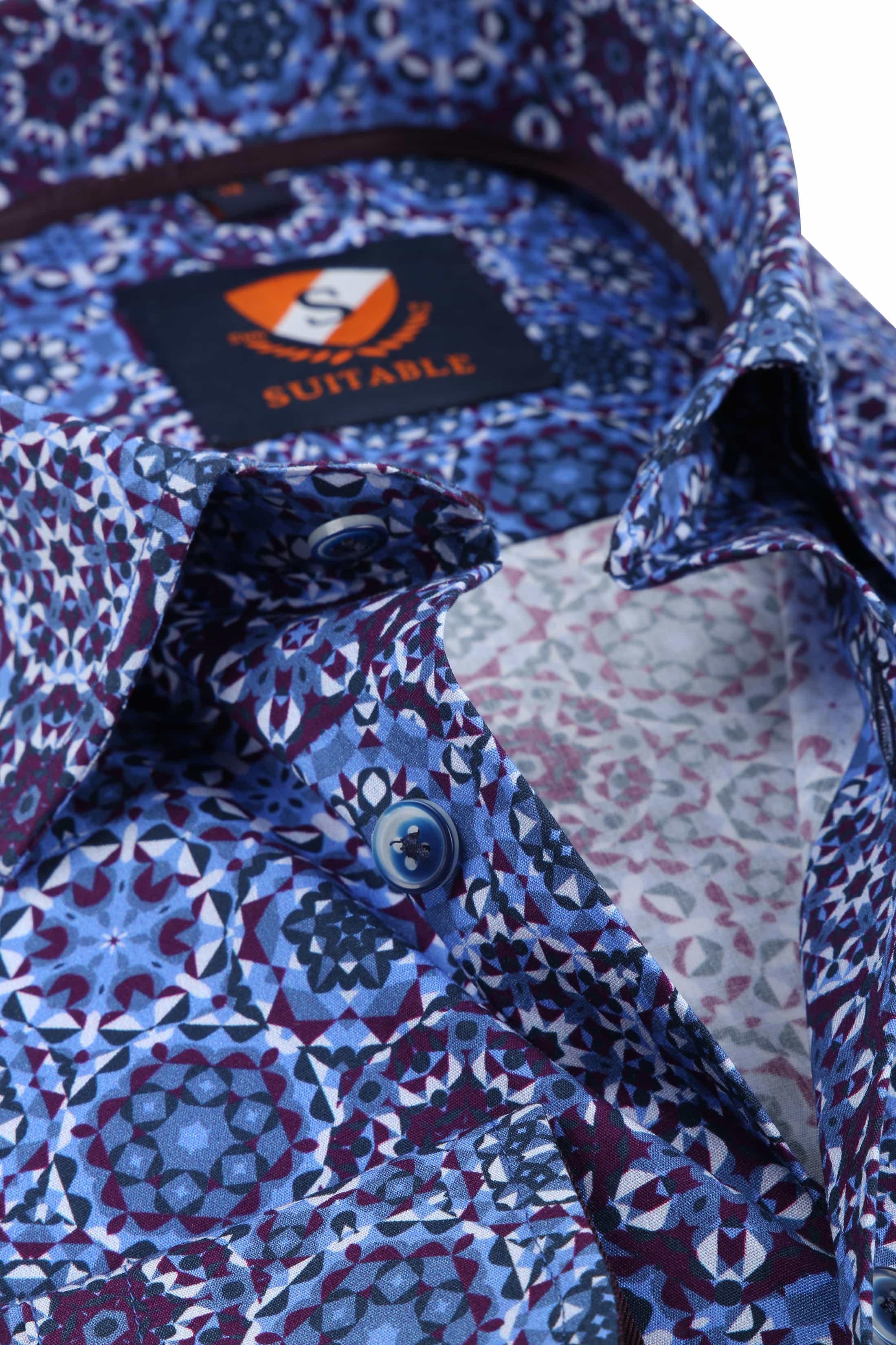Suitable Overhemd Blauw Paars Dessin foto 1