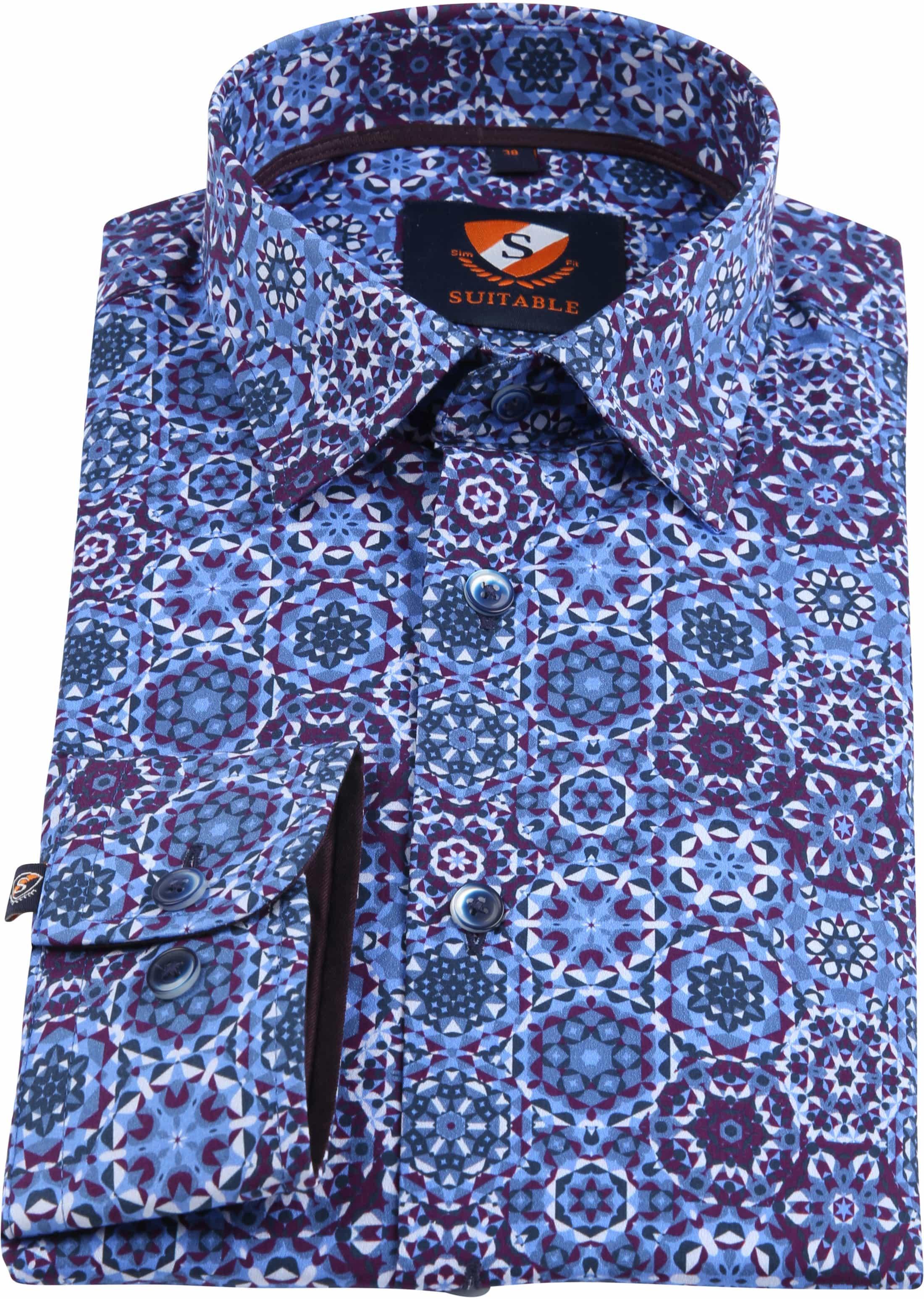 Suitable Overhemd Blauw Paars Dessin foto 2