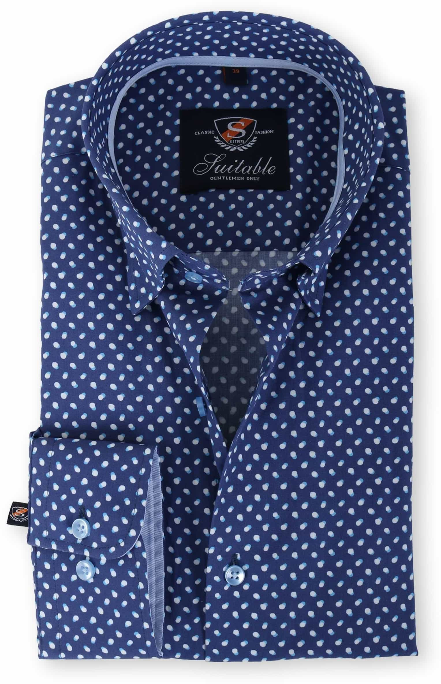 Suitable Overhemd Blauw Print 133-3 foto 0