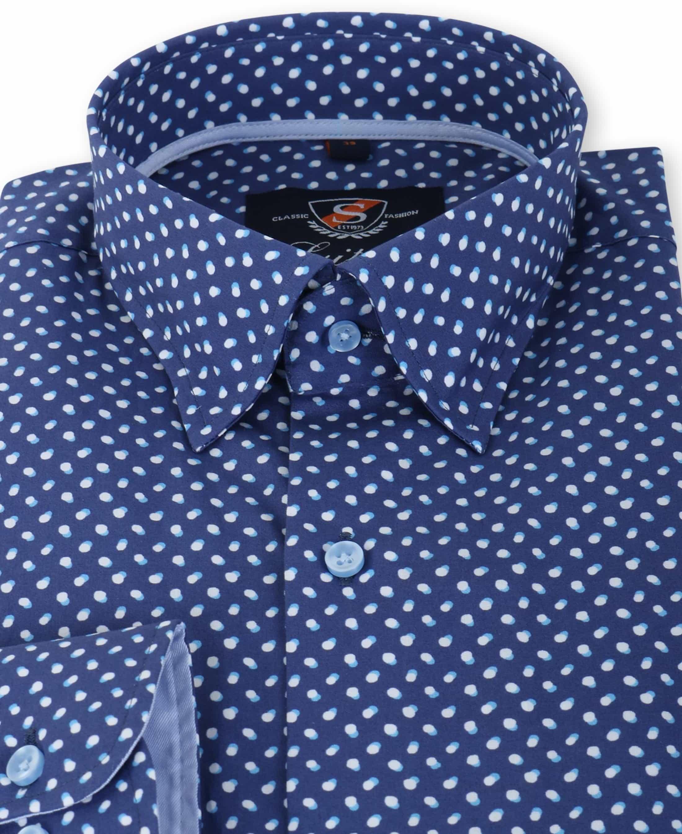 Suitable Overhemd Blauw Print 133-3 foto 1