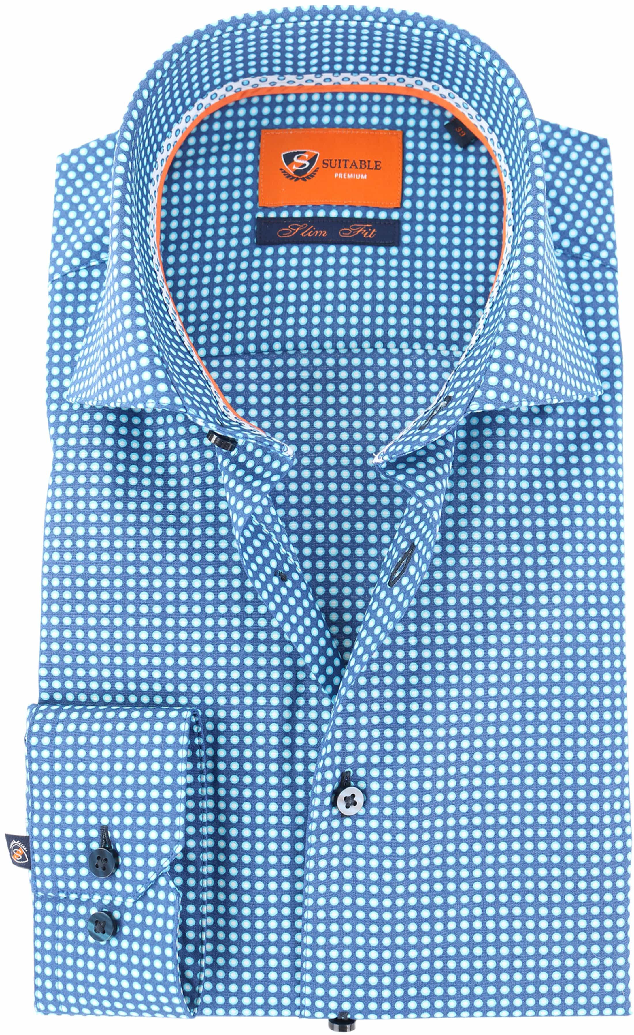 Suitable Overhemd Blauw Print D71-18 foto 0