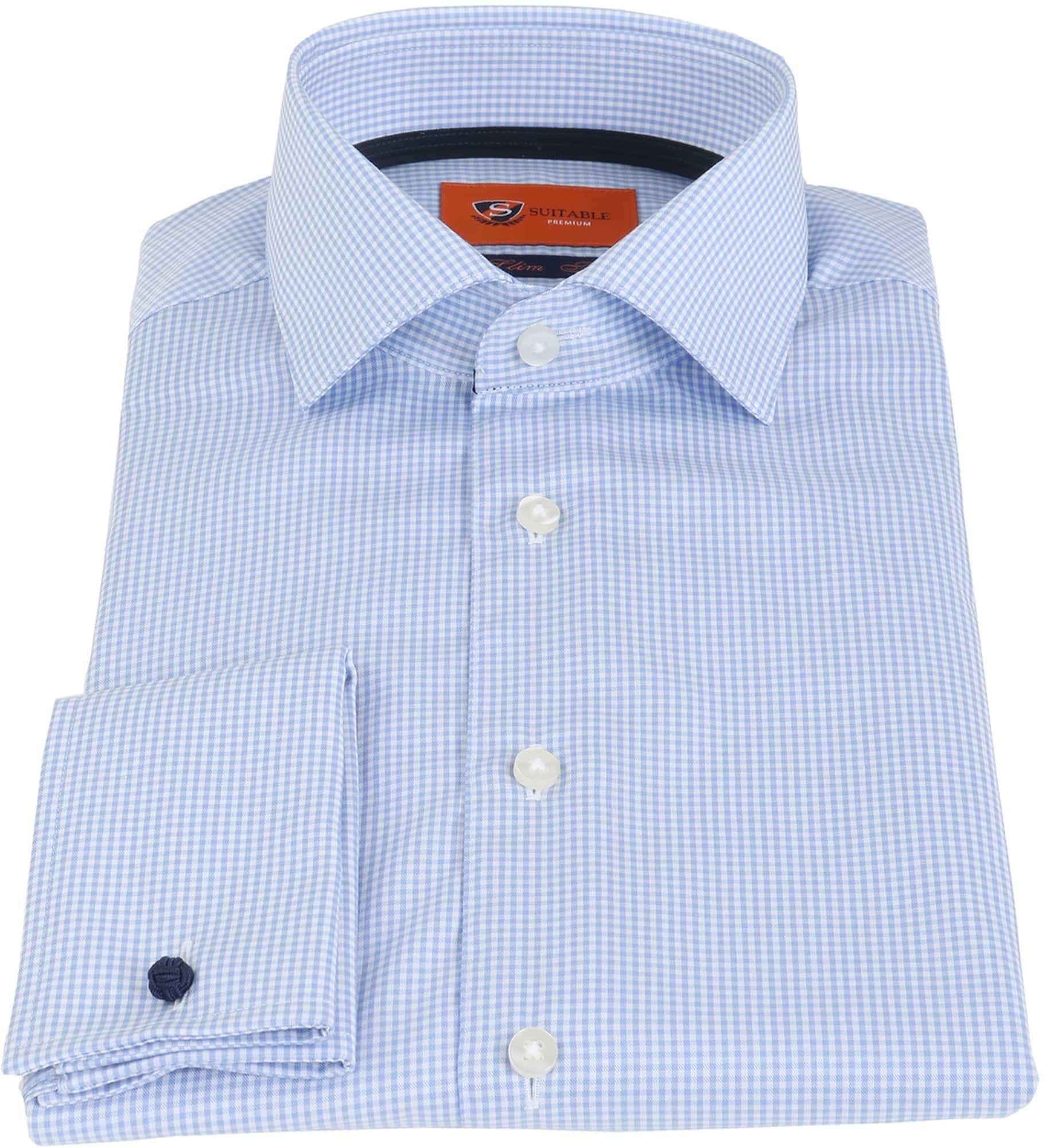 Suitable Overhemd Blauw Ruit foto 2
