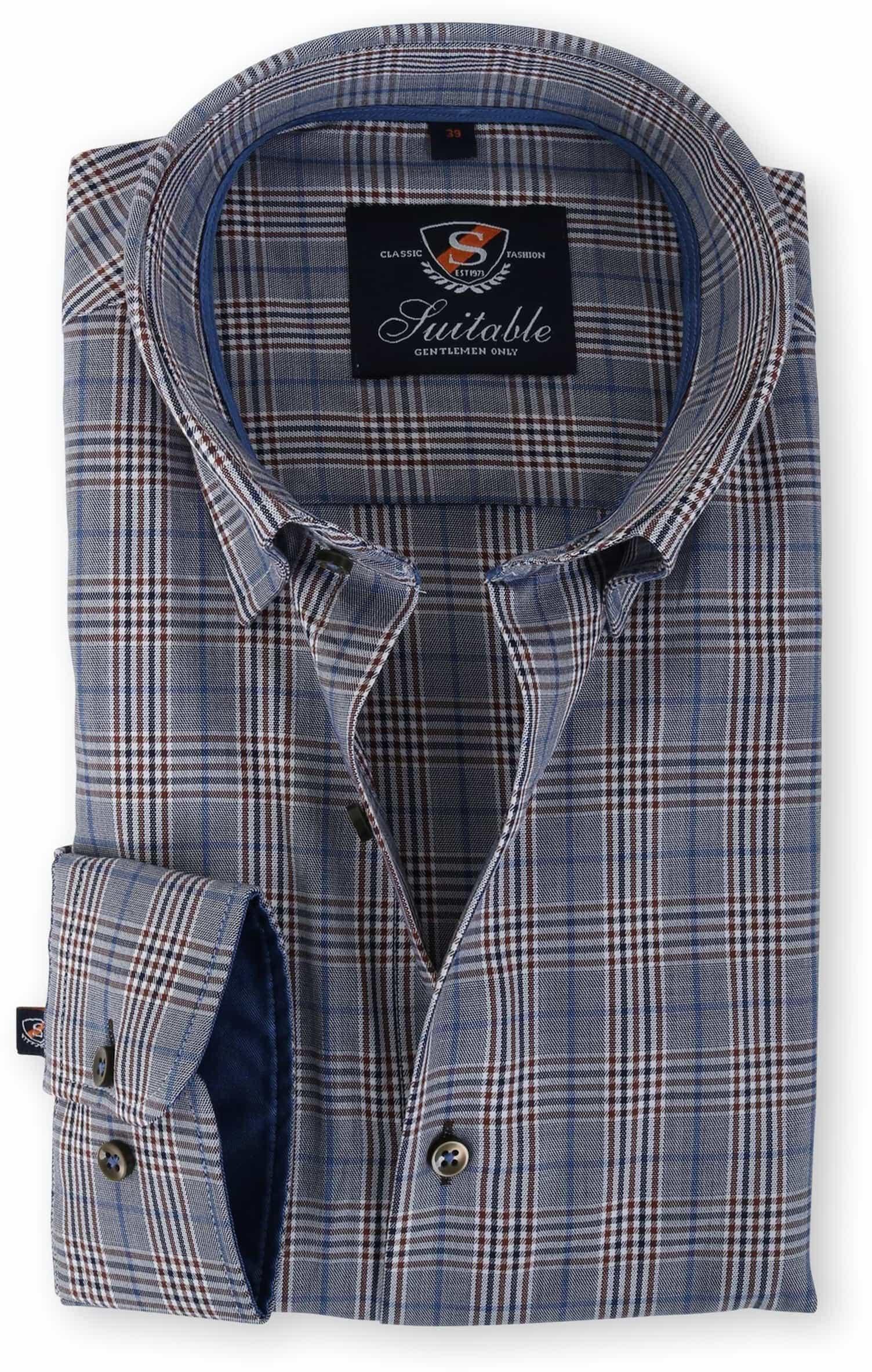 Suitable Overhemd Blauw Ruit 133-6 foto 0