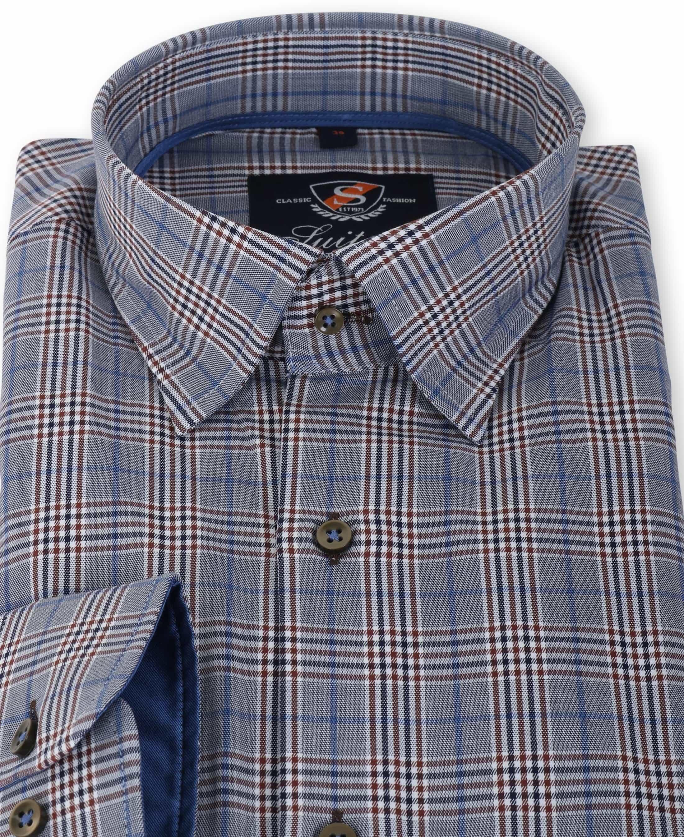 Suitable Overhemd Blauw Ruit 133-6 foto 1