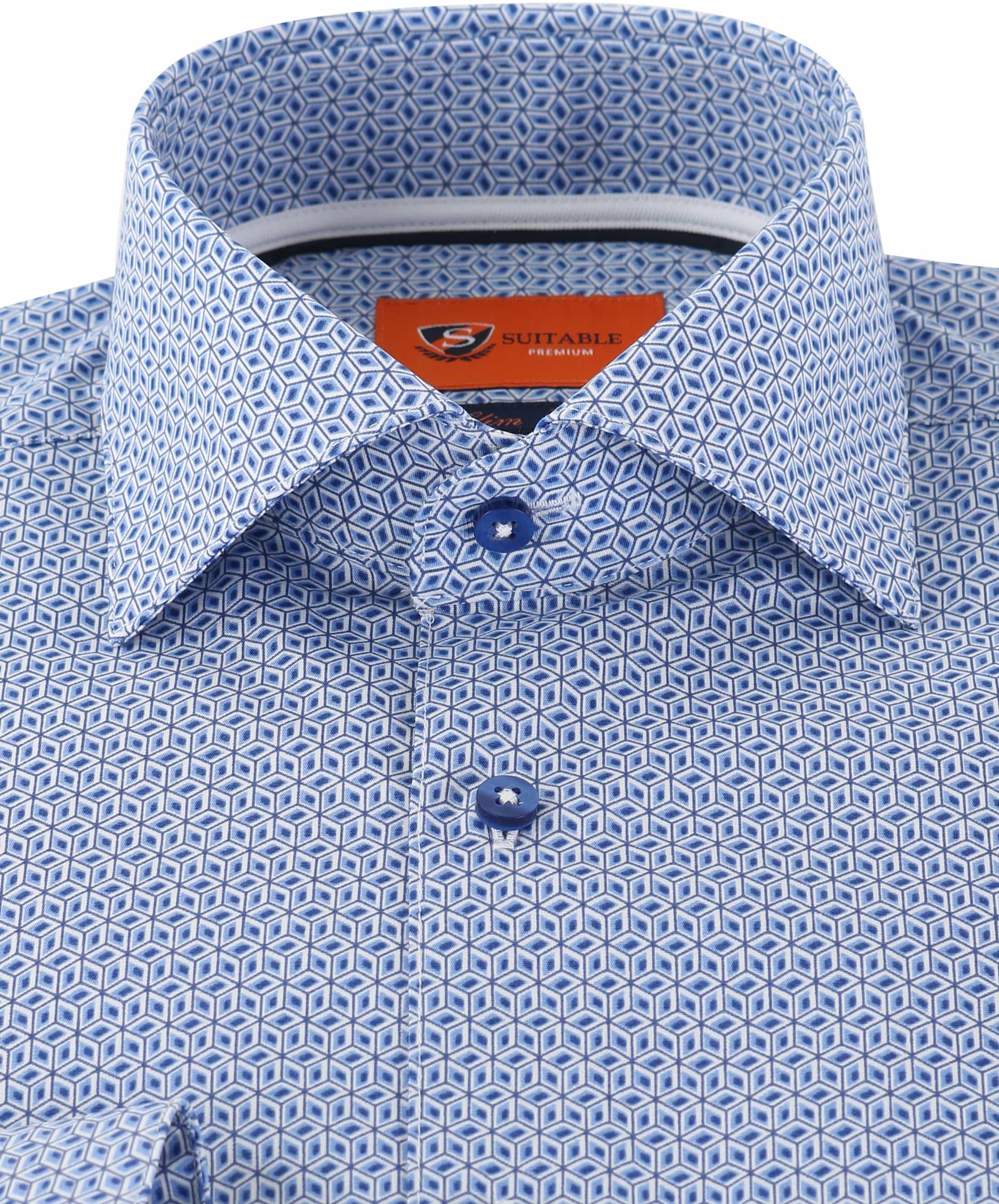 Suitable Overhemd Blue Print foto 1