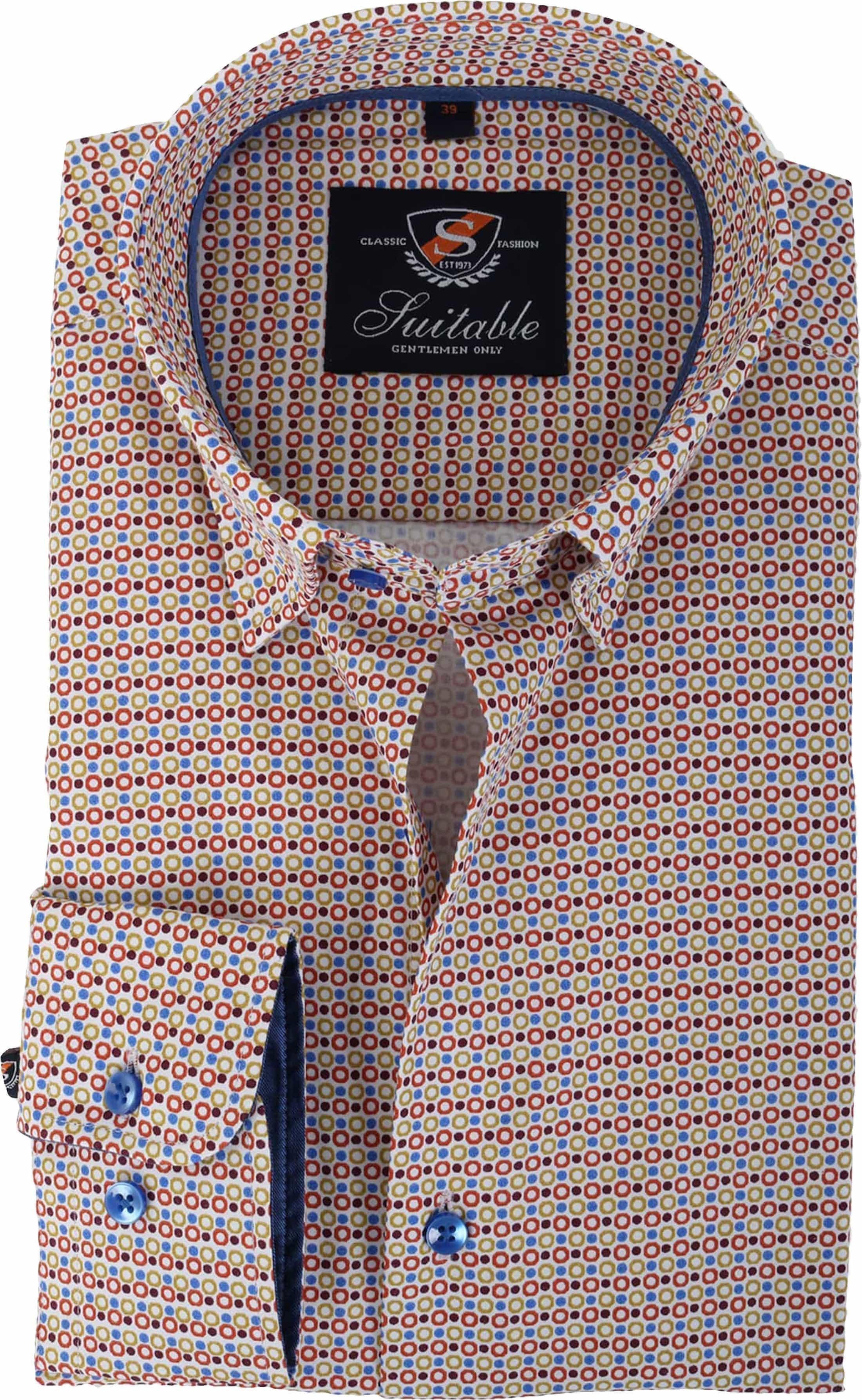 Bruin Overhemd.Suitable Overhemd Bruin Print 133 7 Smart 133 7