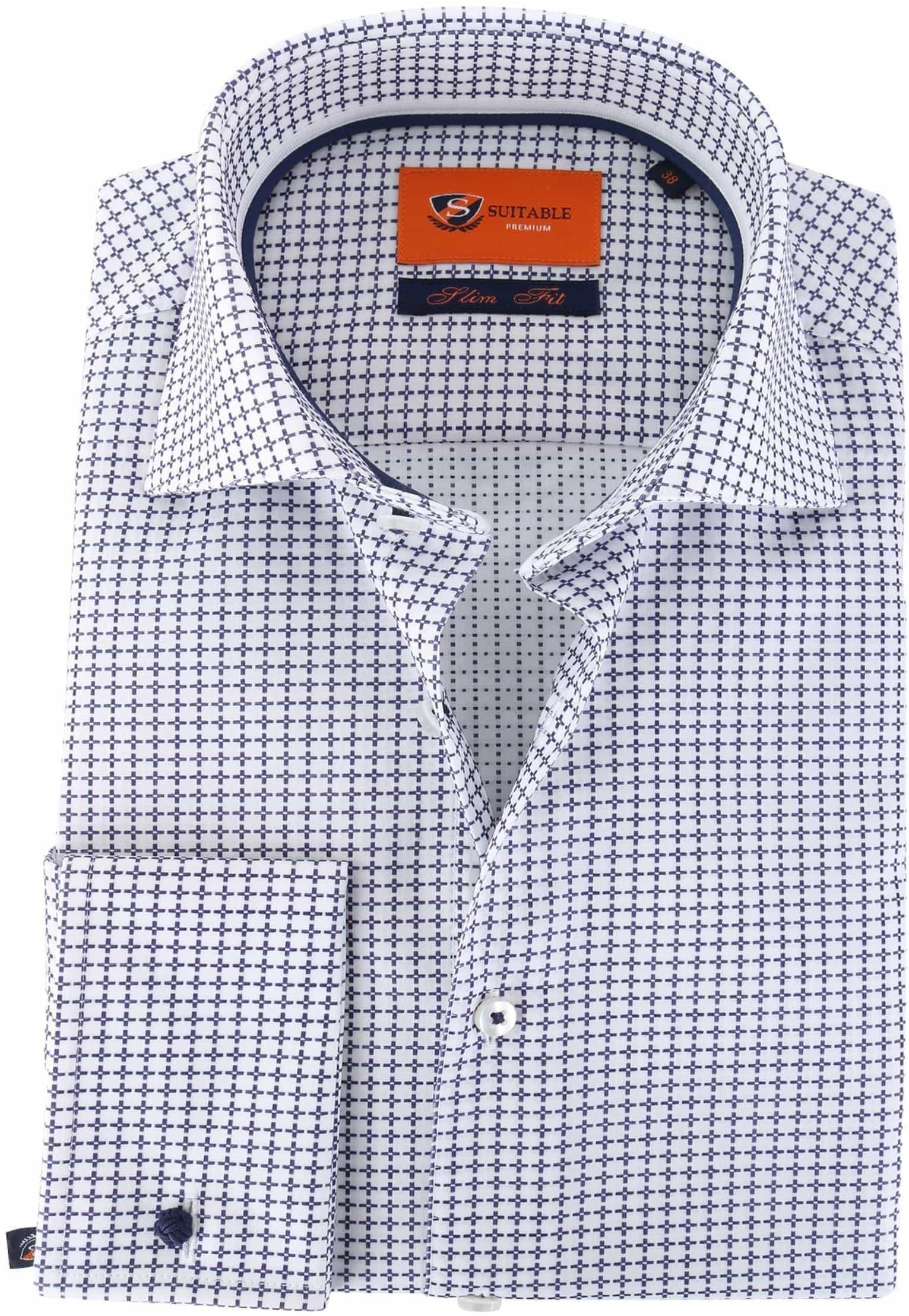 Suitable Overhemd Check Blue Dubbelmanchet foto 0