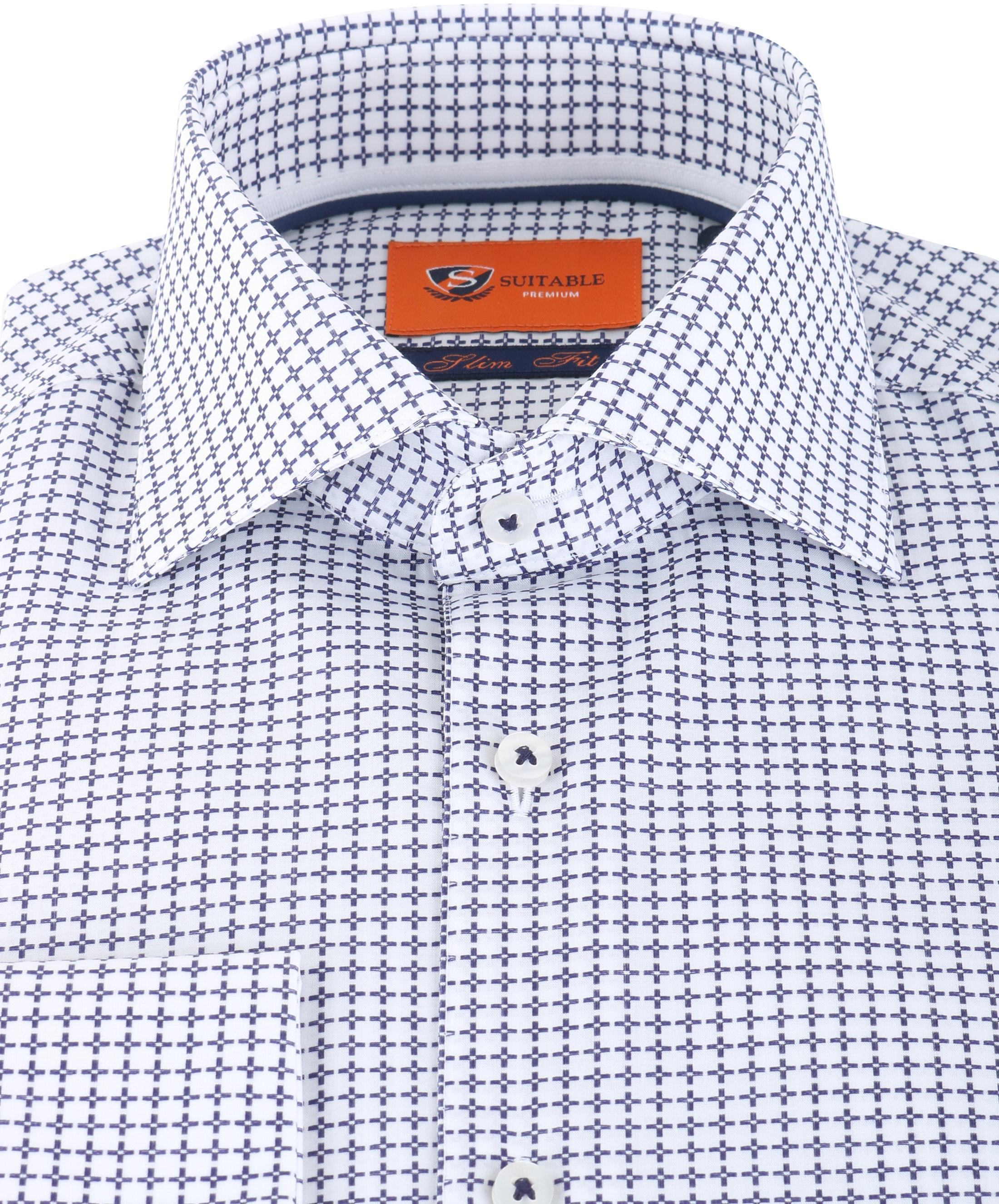 Suitable Overhemd Check Blue Dubbelmanchet foto 2