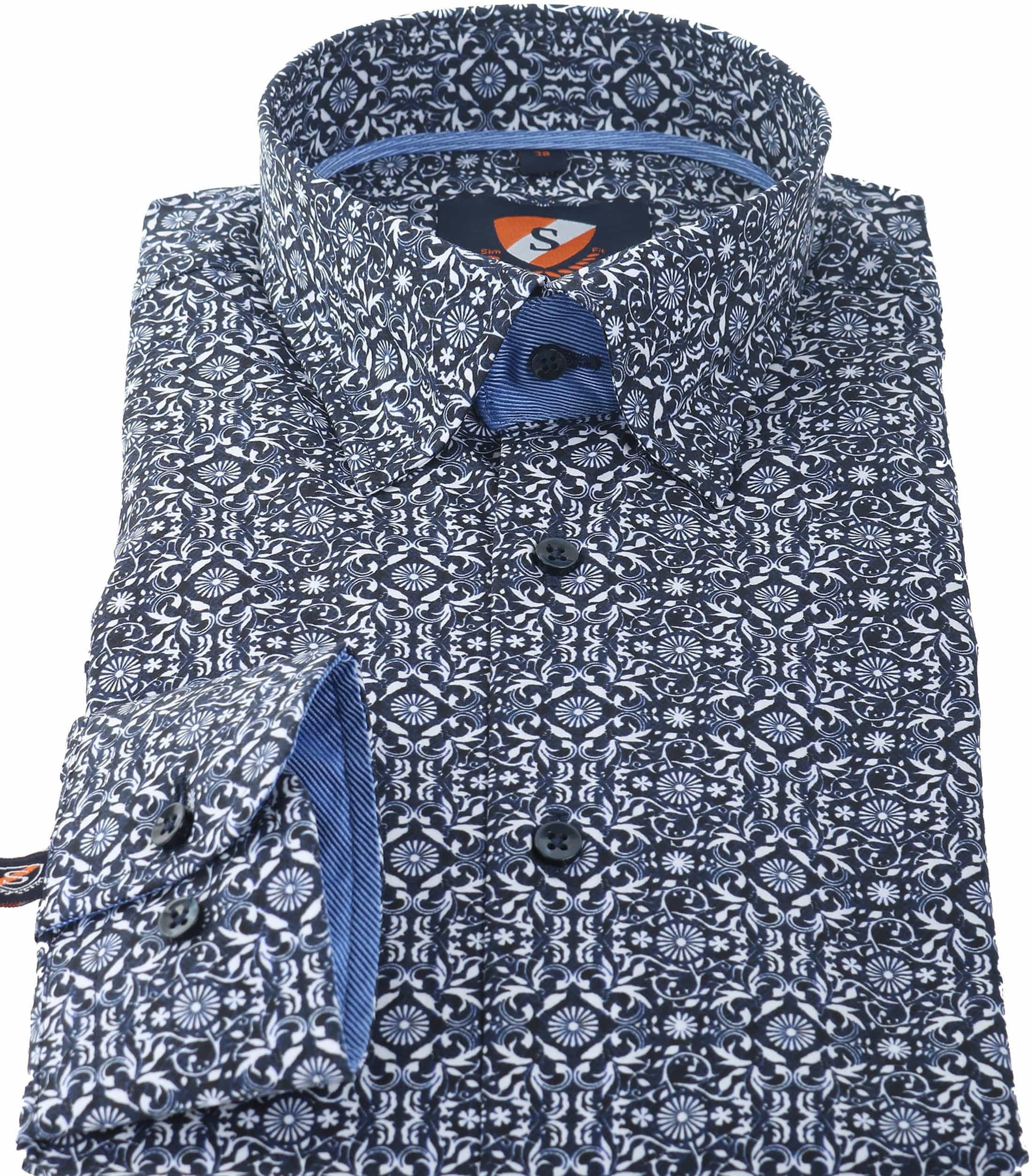 Suitable Overhemd Donkerblauw Print 147-4 foto 2