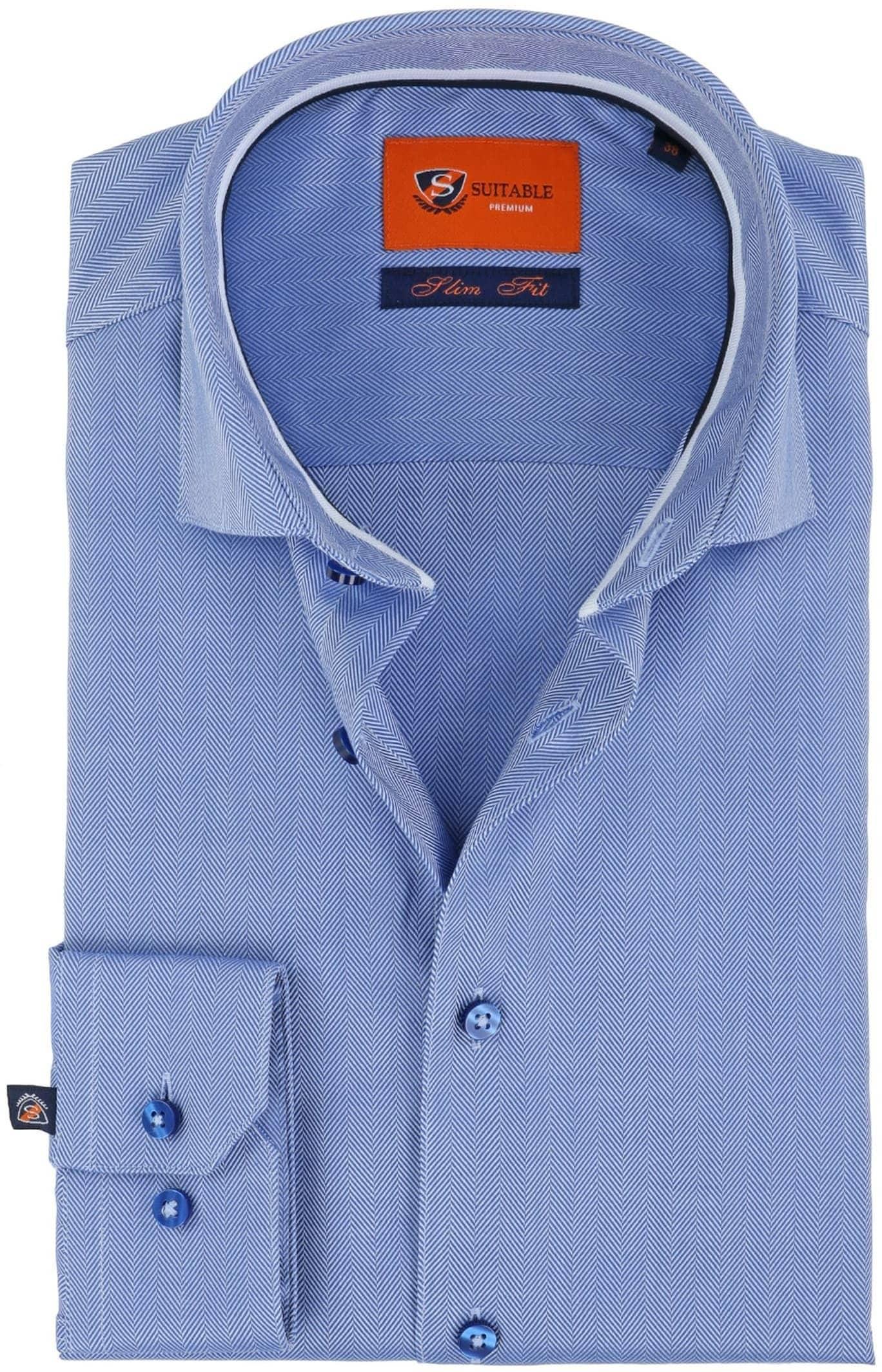 Suitable Overhemd Herringbone Blauw foto 0