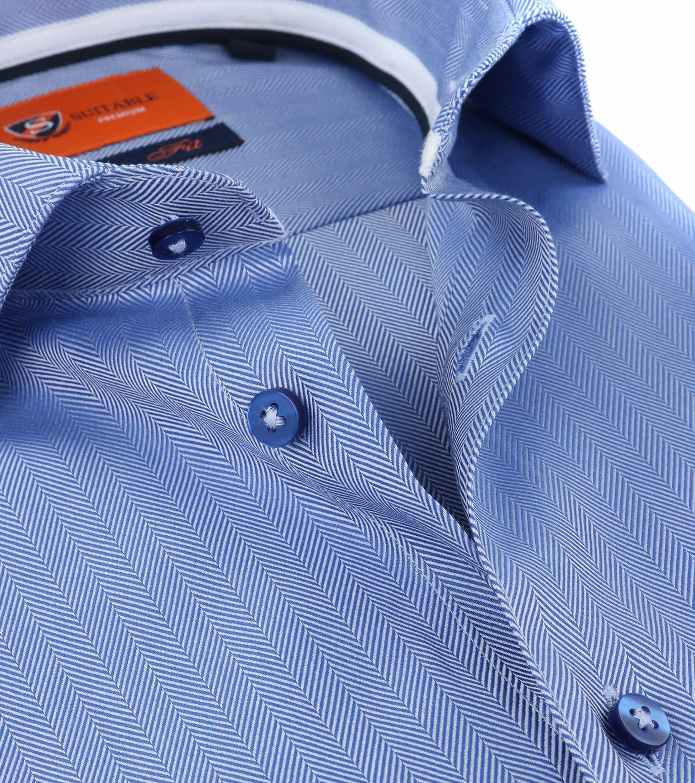 Suitable Overhemd Herringbone Blauw foto 2
