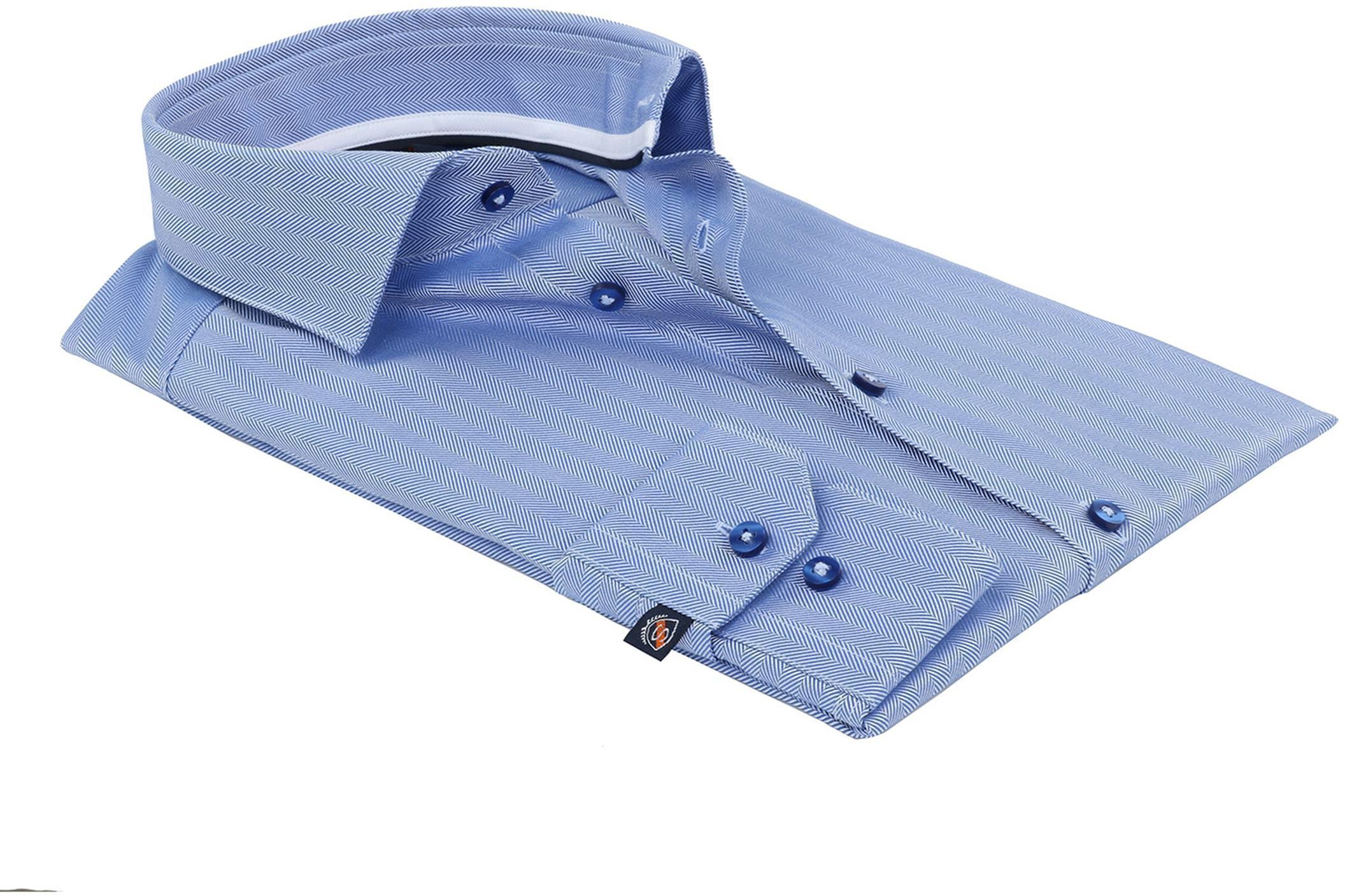 Suitable Overhemd Herringbone Blauw foto 3