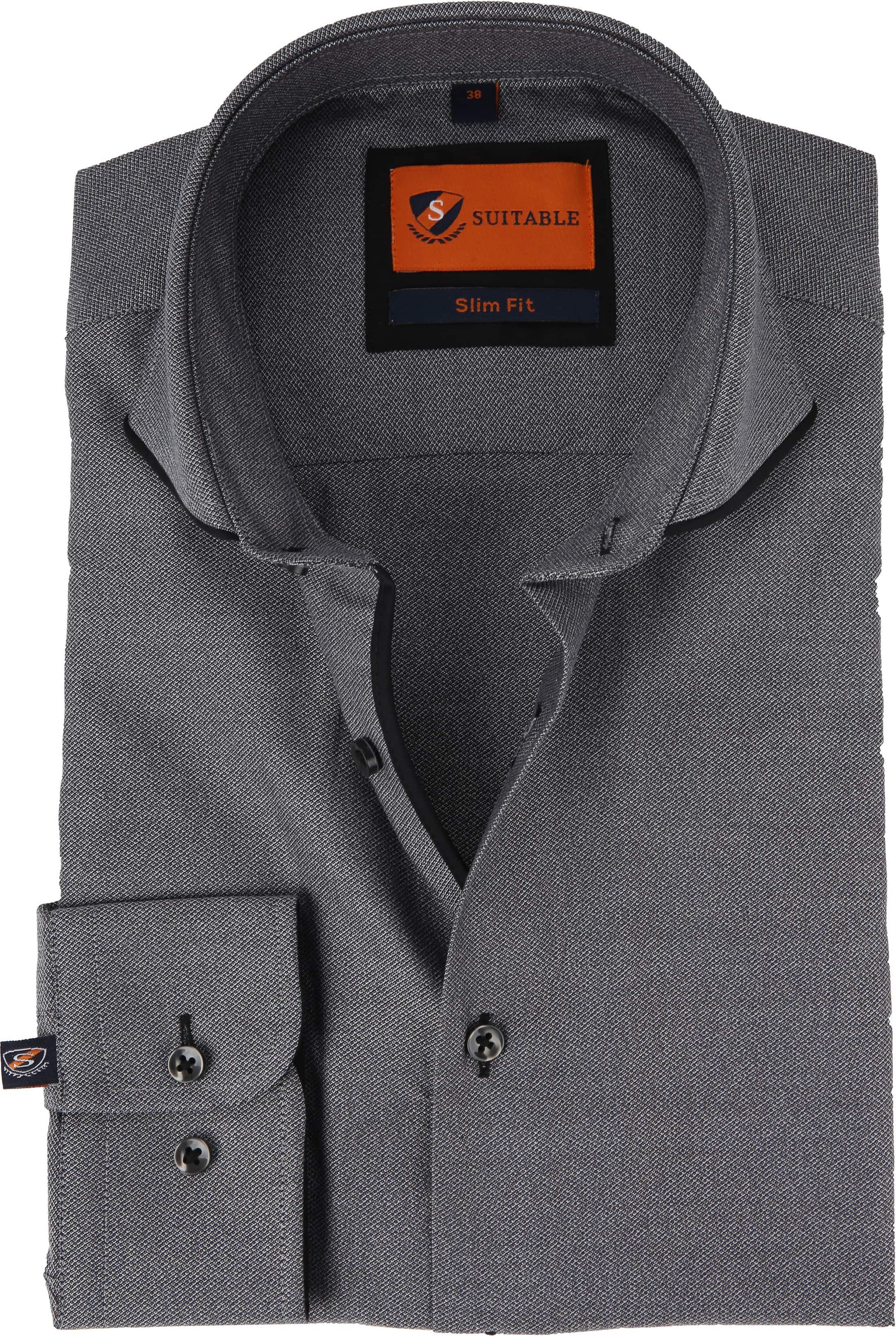 Suitable Overhemd Mouline Grijs foto 0