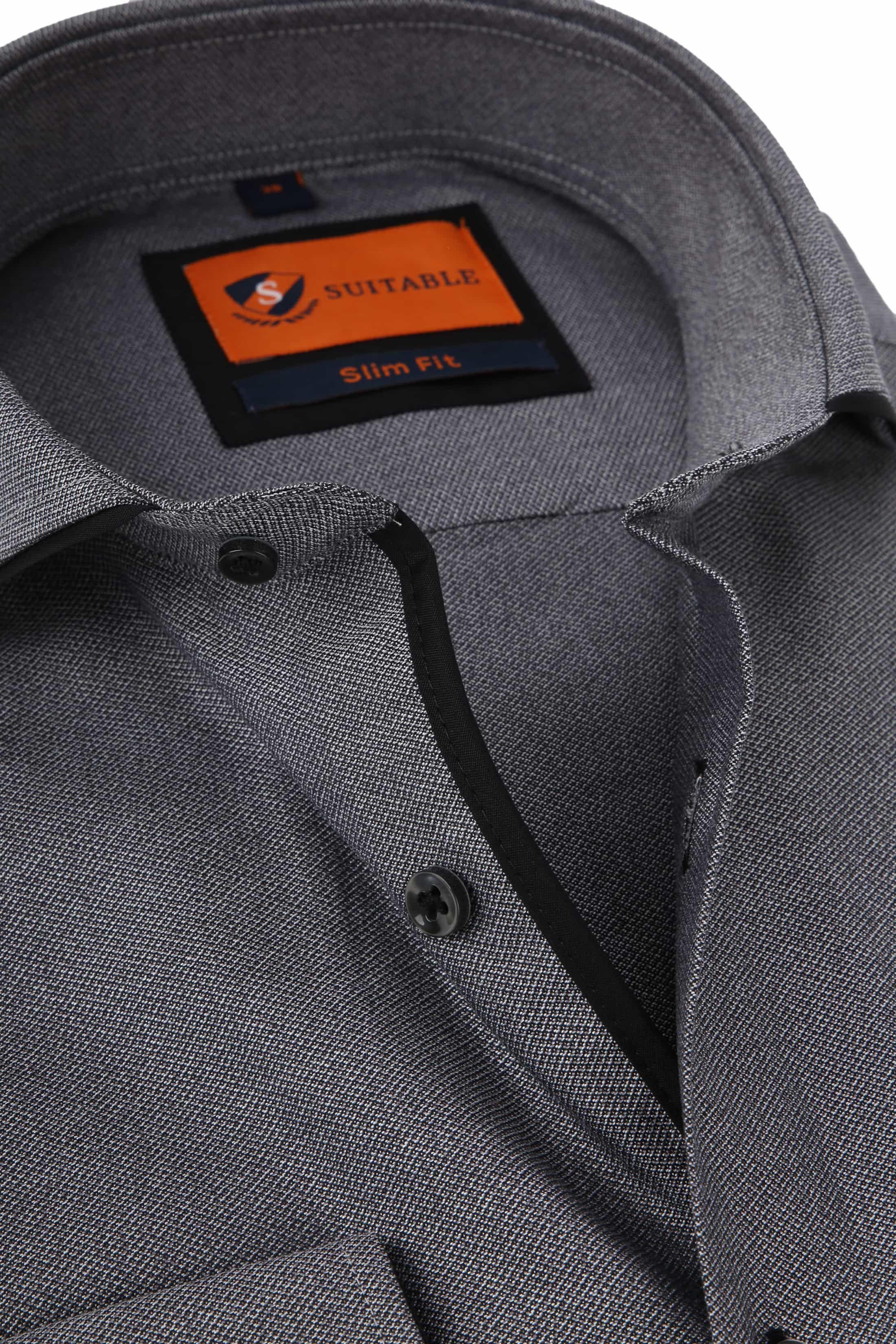 Suitable Overhemd Mouline Grijs foto 1