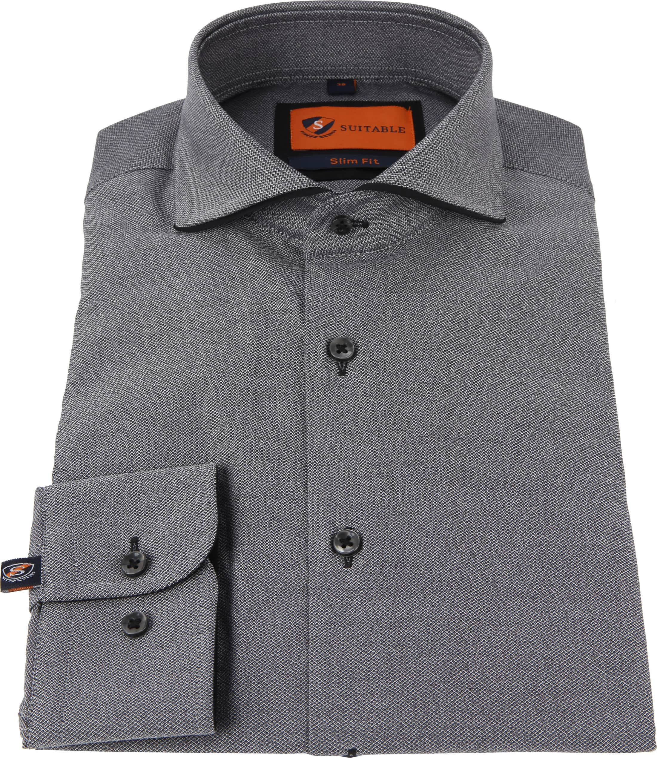 Suitable Overhemd Mouline Grijs foto 2